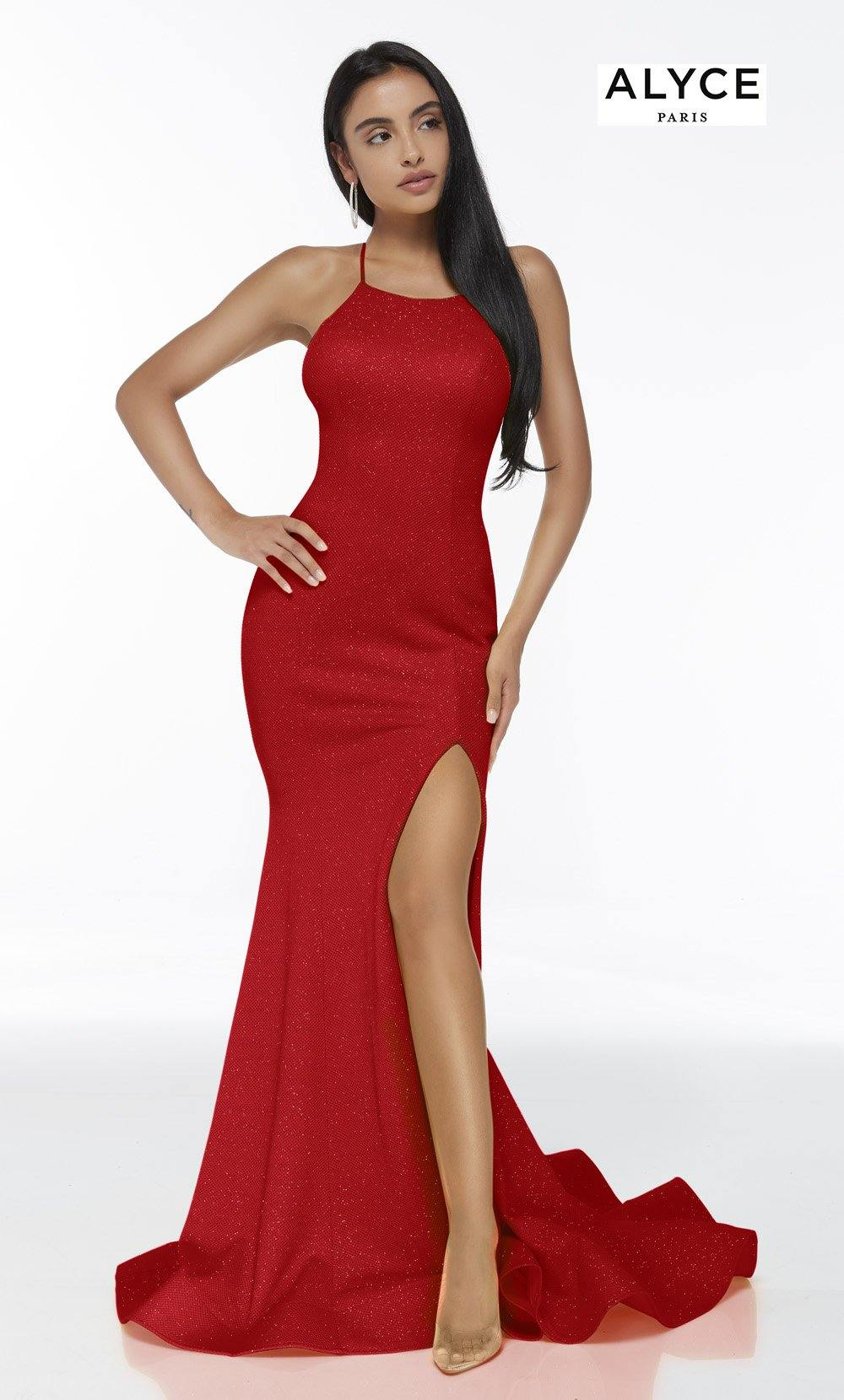 Red mermaid gown with a halter neckline and a front slit