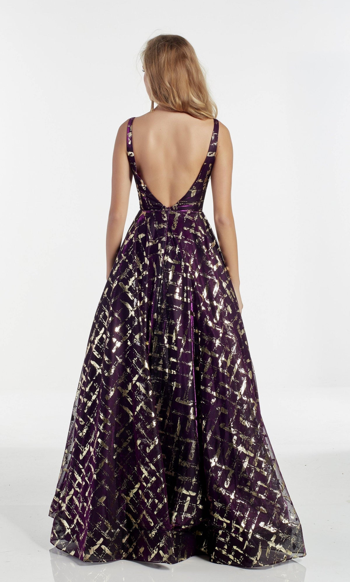 Dark purple ballgown with a beaded waist, enclosed back, and Gold foil detail