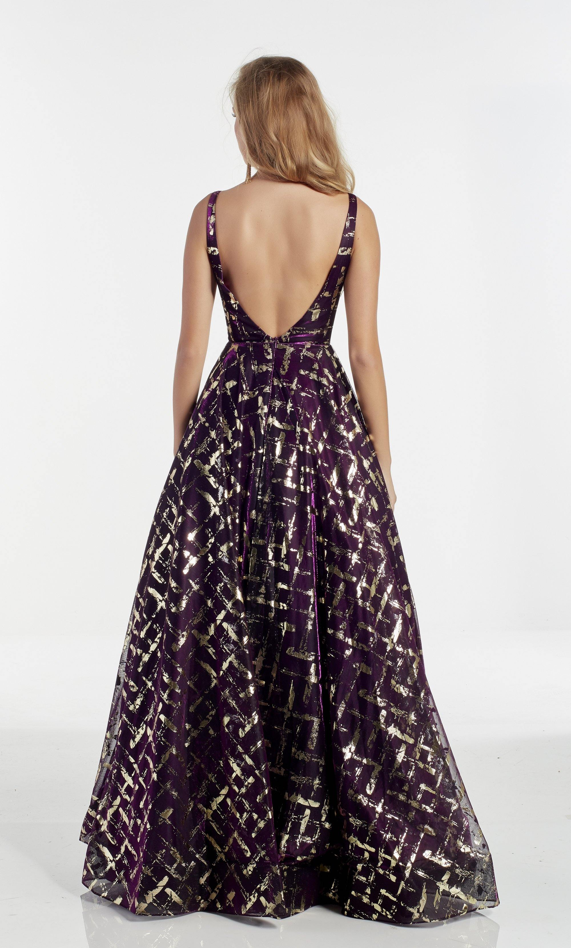 Dark purple ballgown with a beaded waist and Gold foil detail