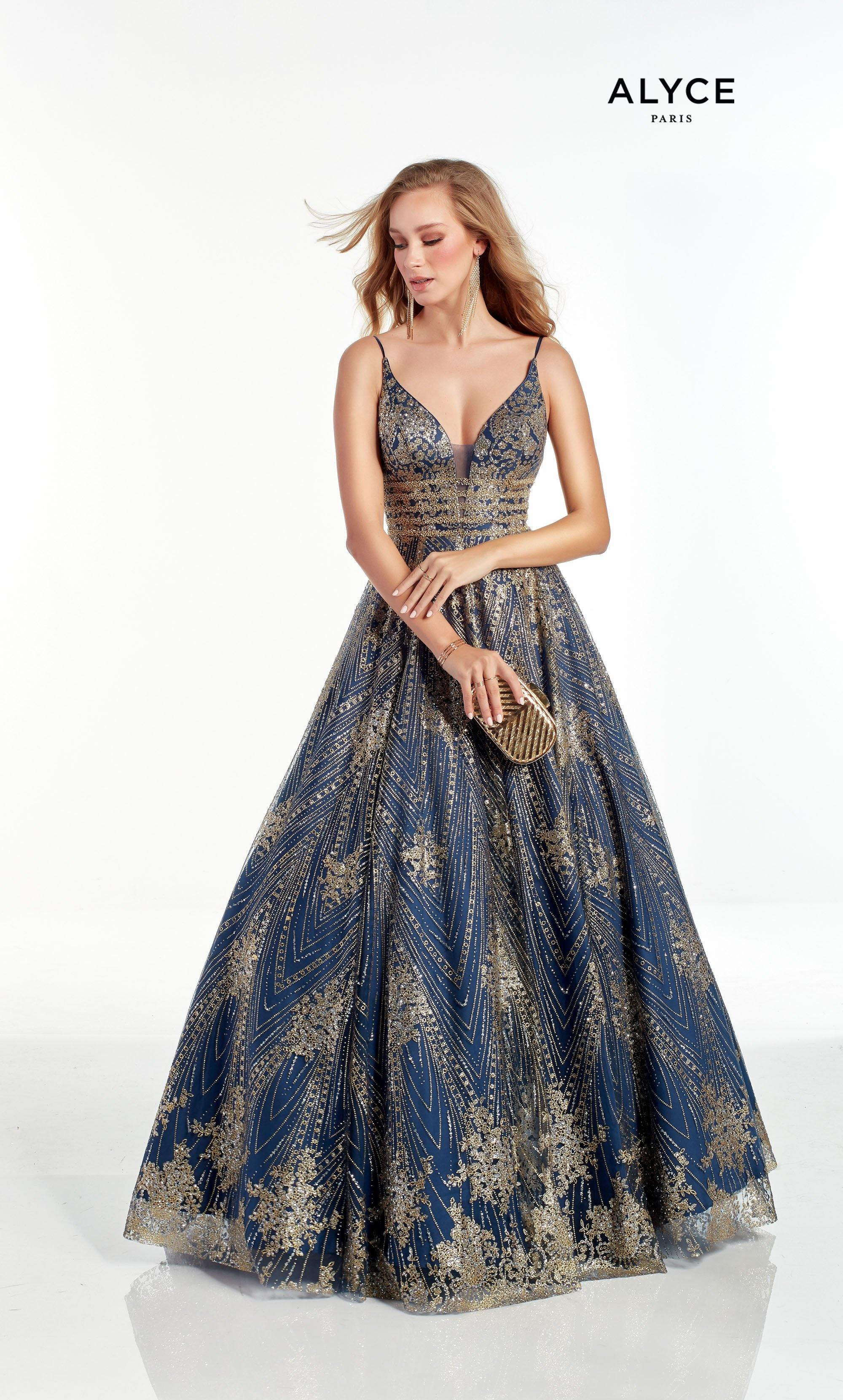 Navy-Gold glitter tulle ball gown with a plunging neckline and beaded waist