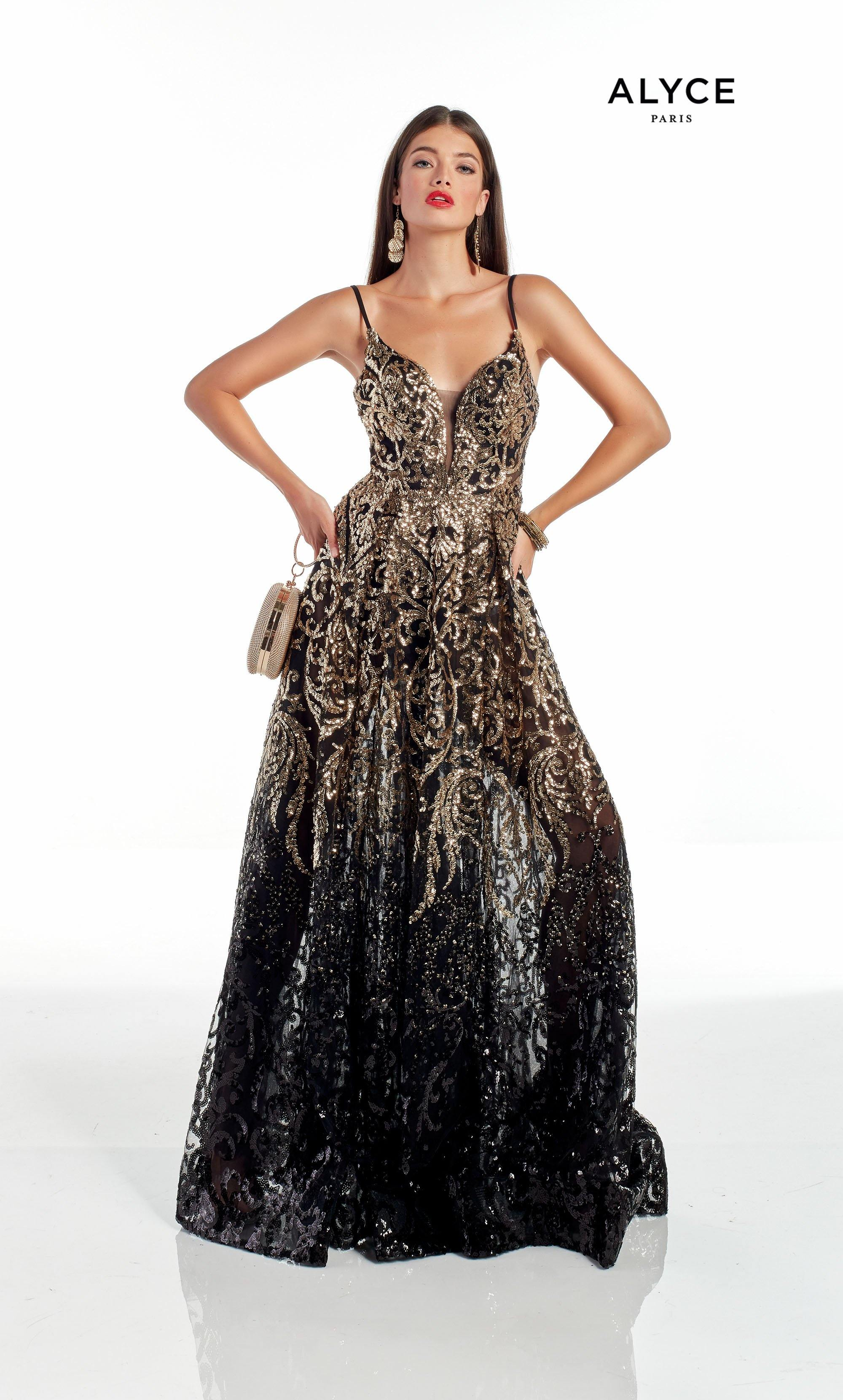 Long Black-Gold glitter tulle ombre prom dress with a plunging neckline, sheer skirt and shorts