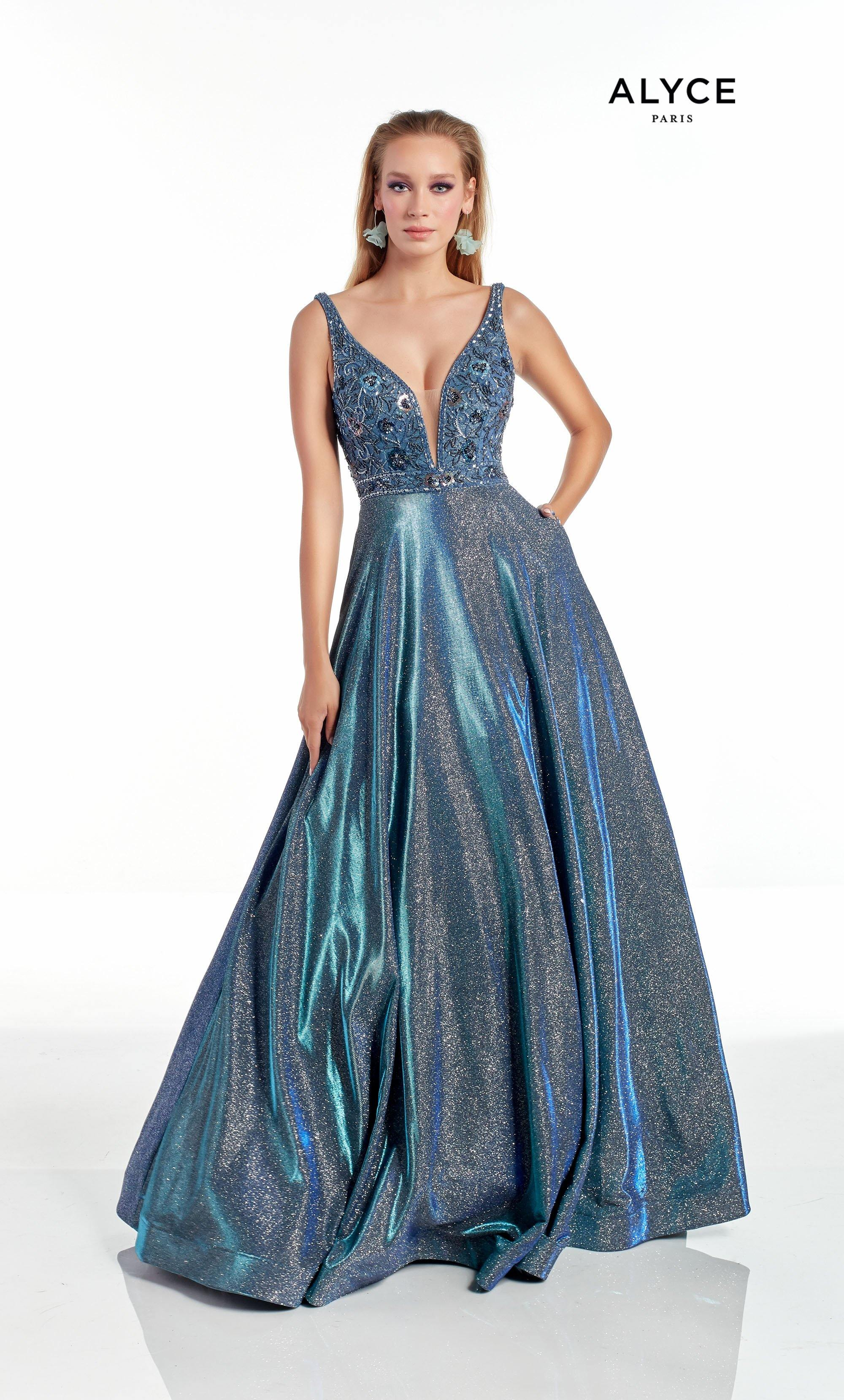 Iridescent Blue formal A line dress with a plunging neckline and beaded bodice