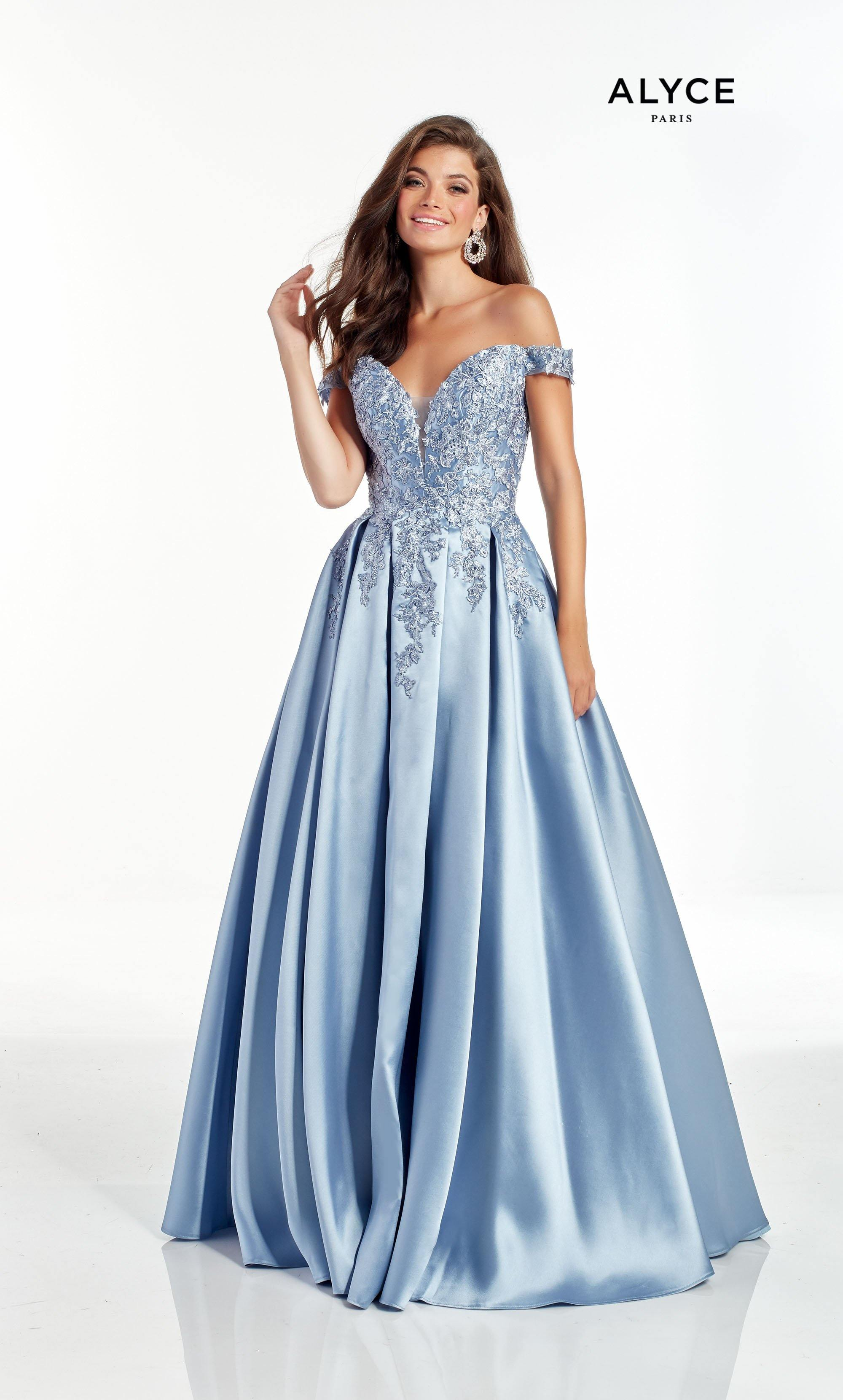 French Blue off the shoulder mikado ballgown with lace detail