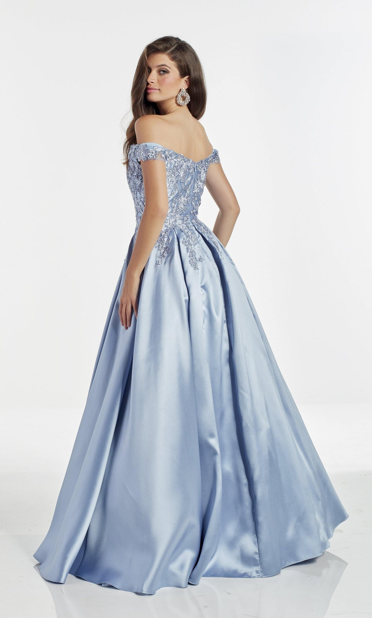 French Blue off the shoulder mikado ball gown with an enclosed back and lace detail