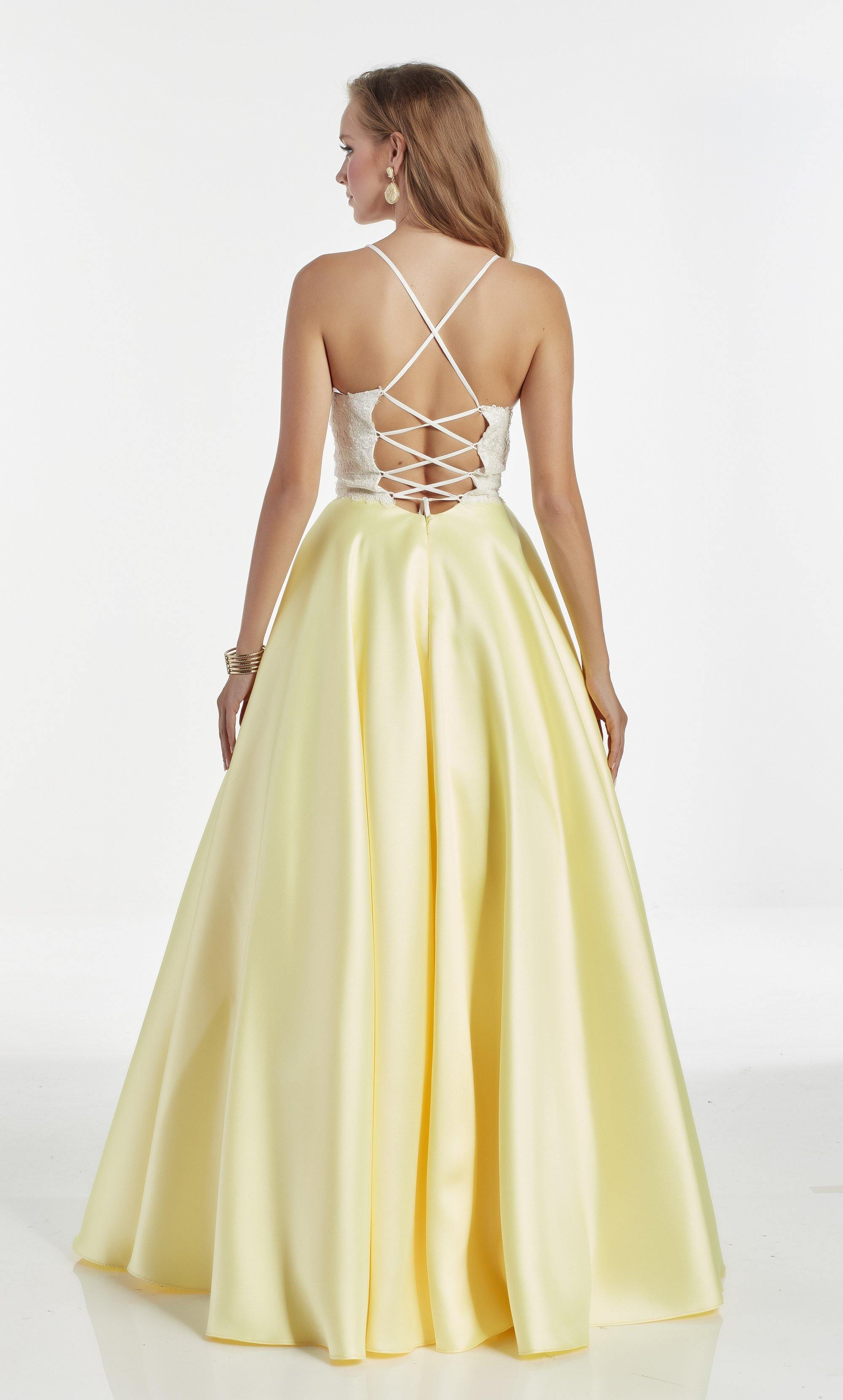 Plunging neckline ballgown with a White lace bodice and Light Yellow mikado skirt
