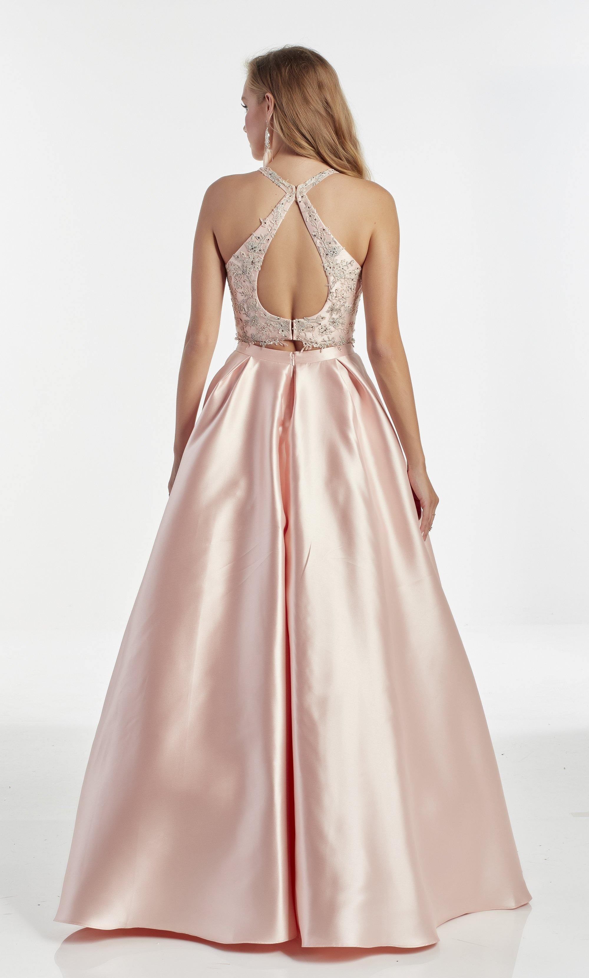 French Pink ballgown with an illusion neckline and embroidered bodice with jewel accents
