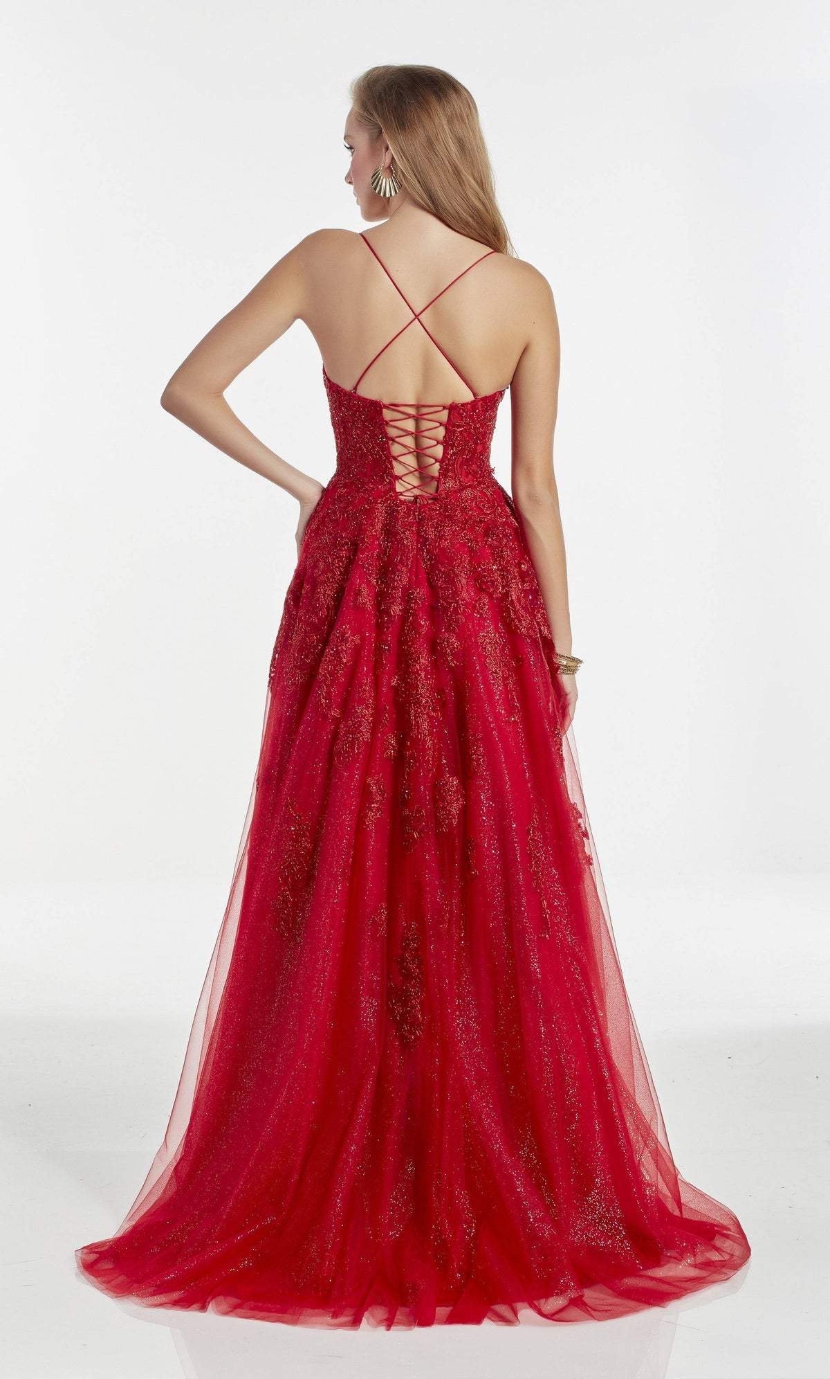 Glitter tulle ballgown with a strappy back and embroidery detail