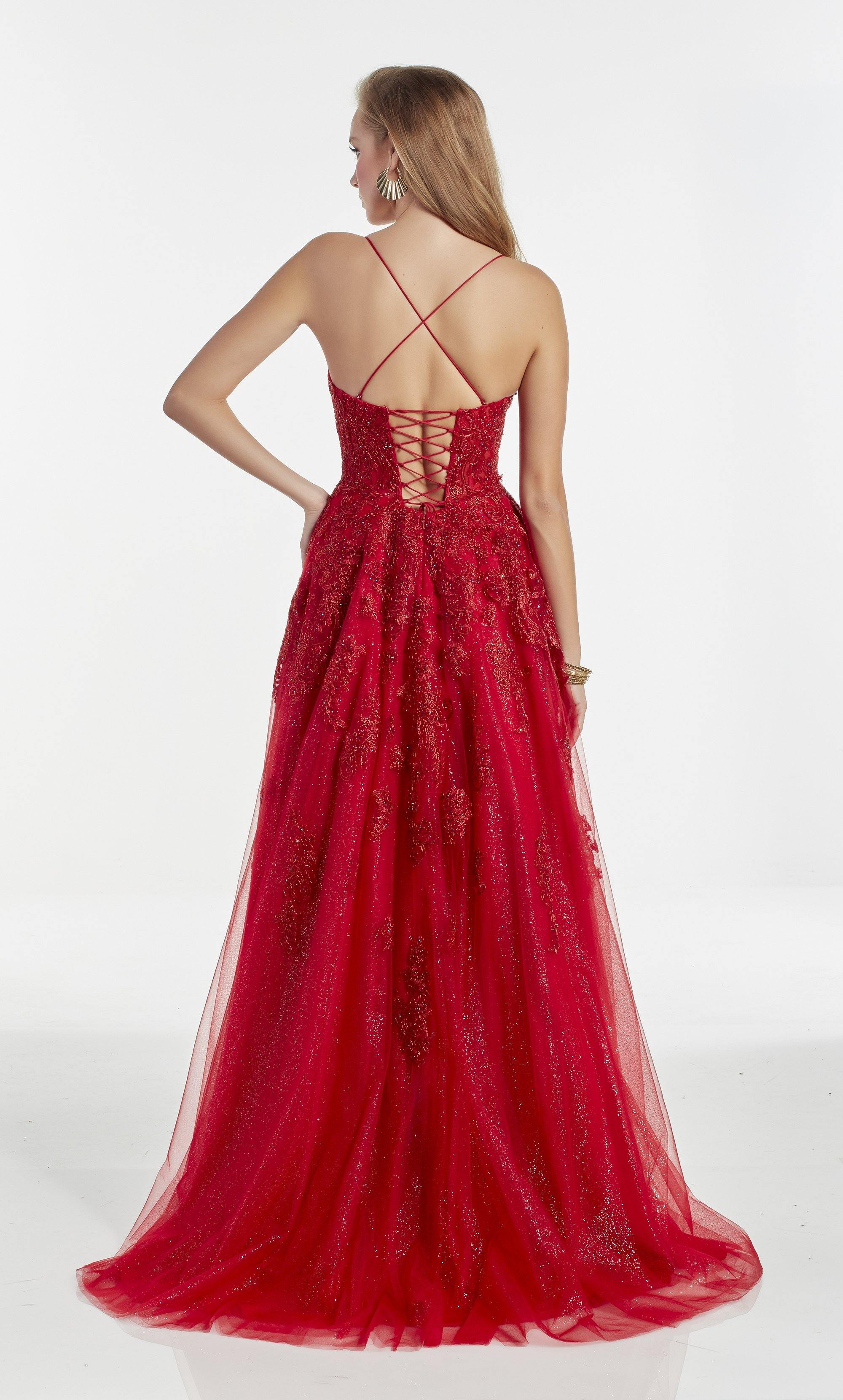 Red glitter tulle ballgown with a square neckline and embroidery detail