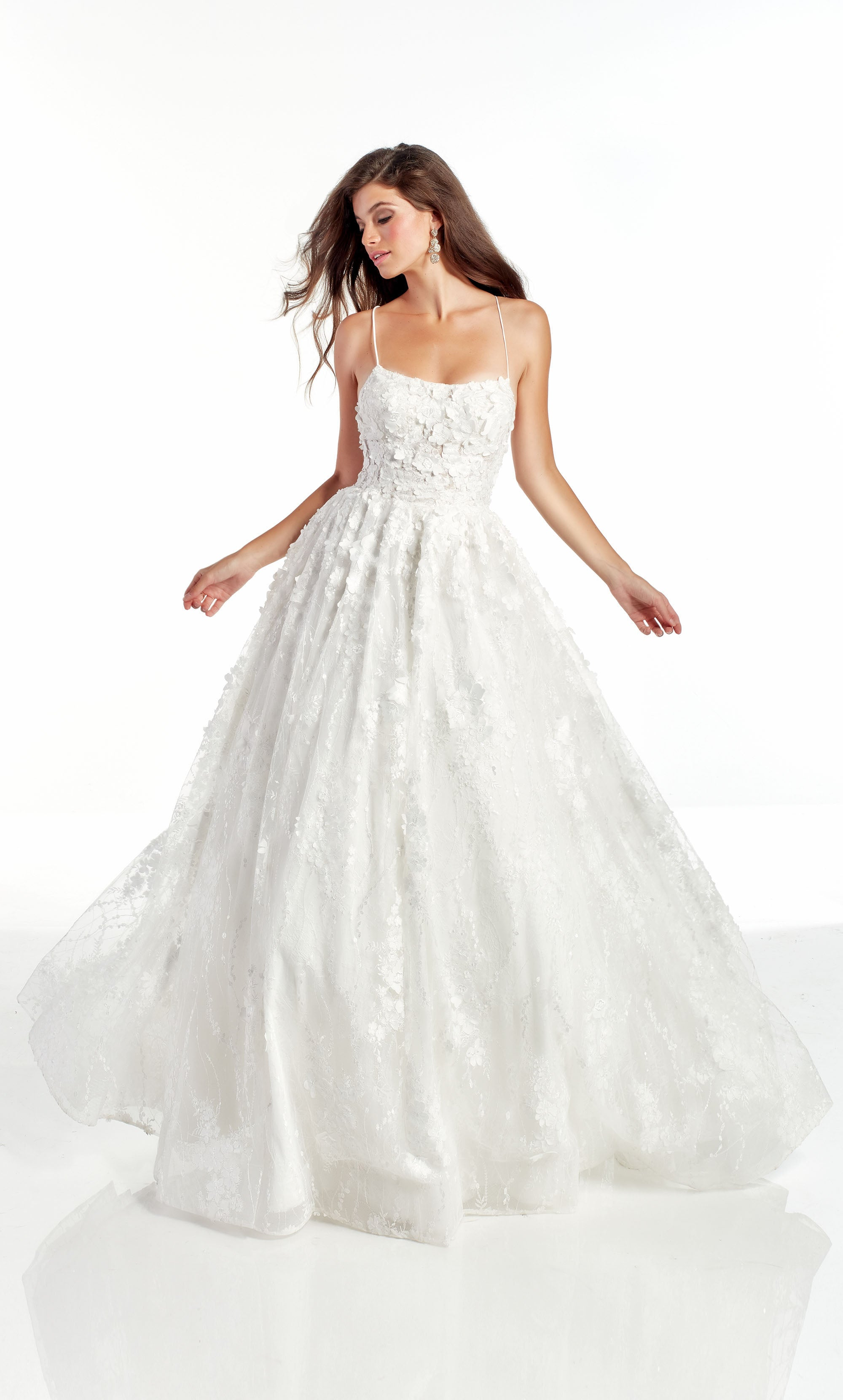 Diamond White 3D lace glitter and stone embellished ballgown with a square neckline
