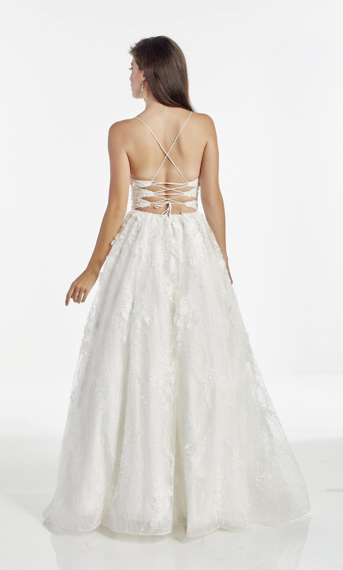 Diamond White 3D lace, glitter and stone embellished ballgown with a strappy back and train