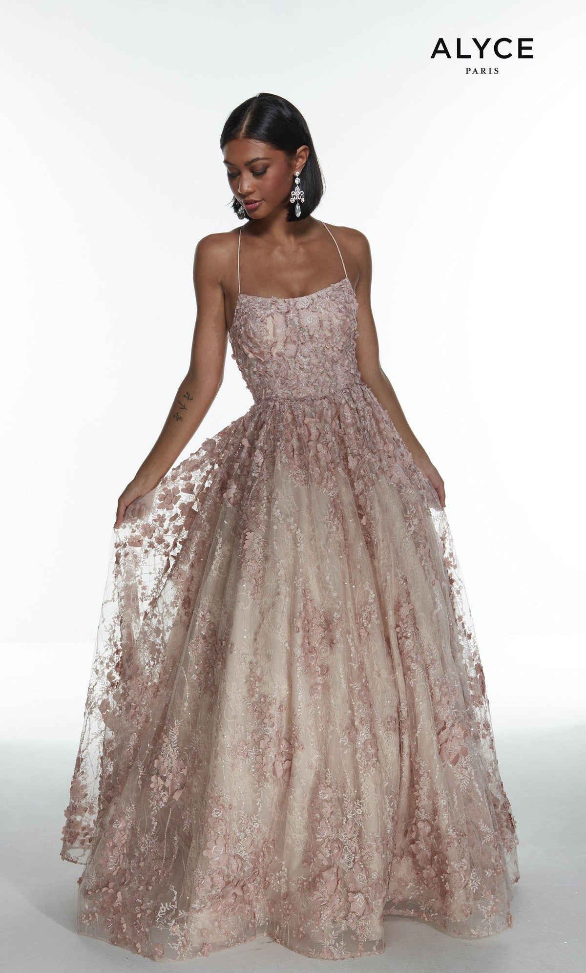 French Pink 3D lace glitter and stone embellished ballgown with a square neckline