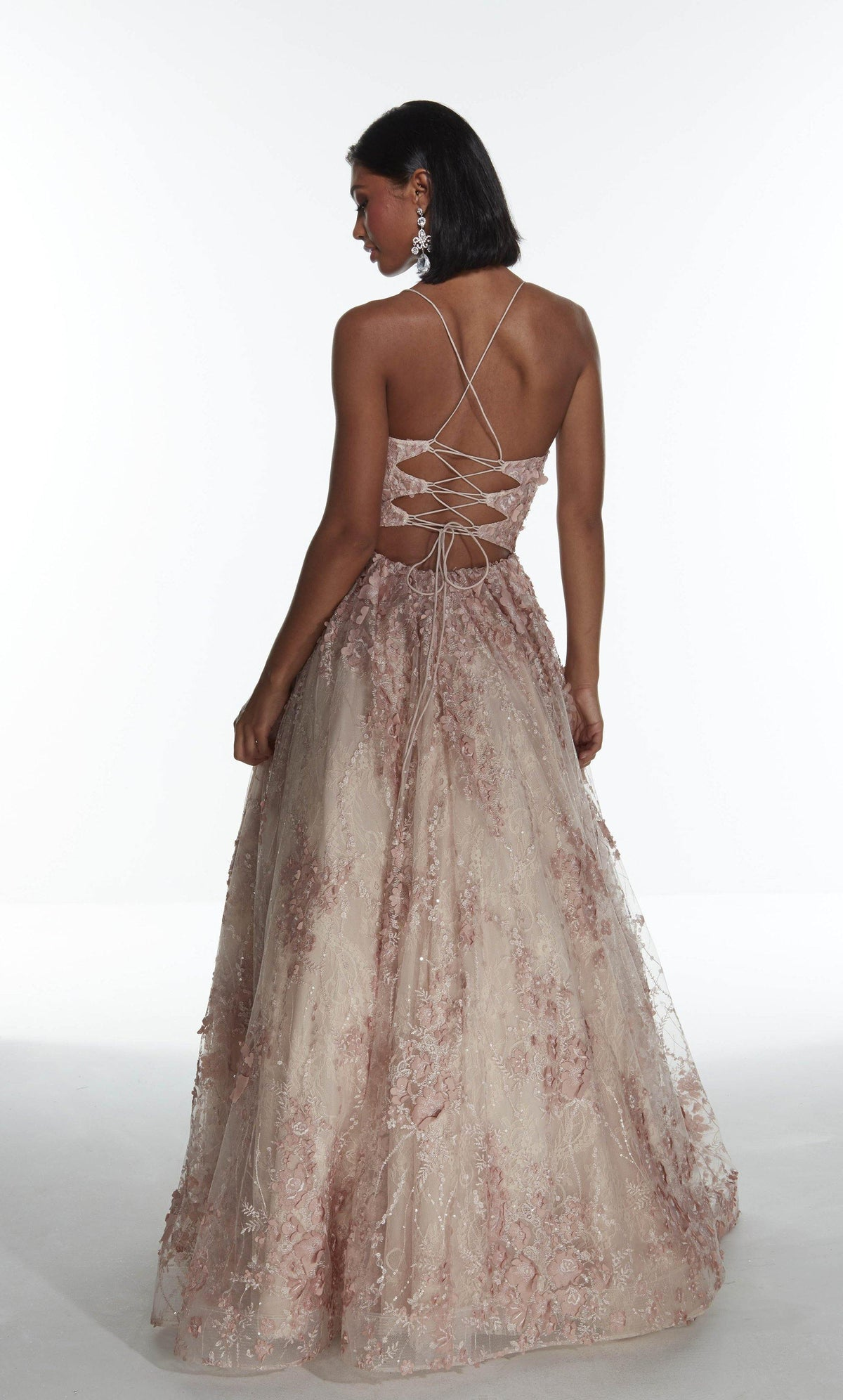 French Pink 3D lace, glitter and stone embellished ballgown with a strappy back and train