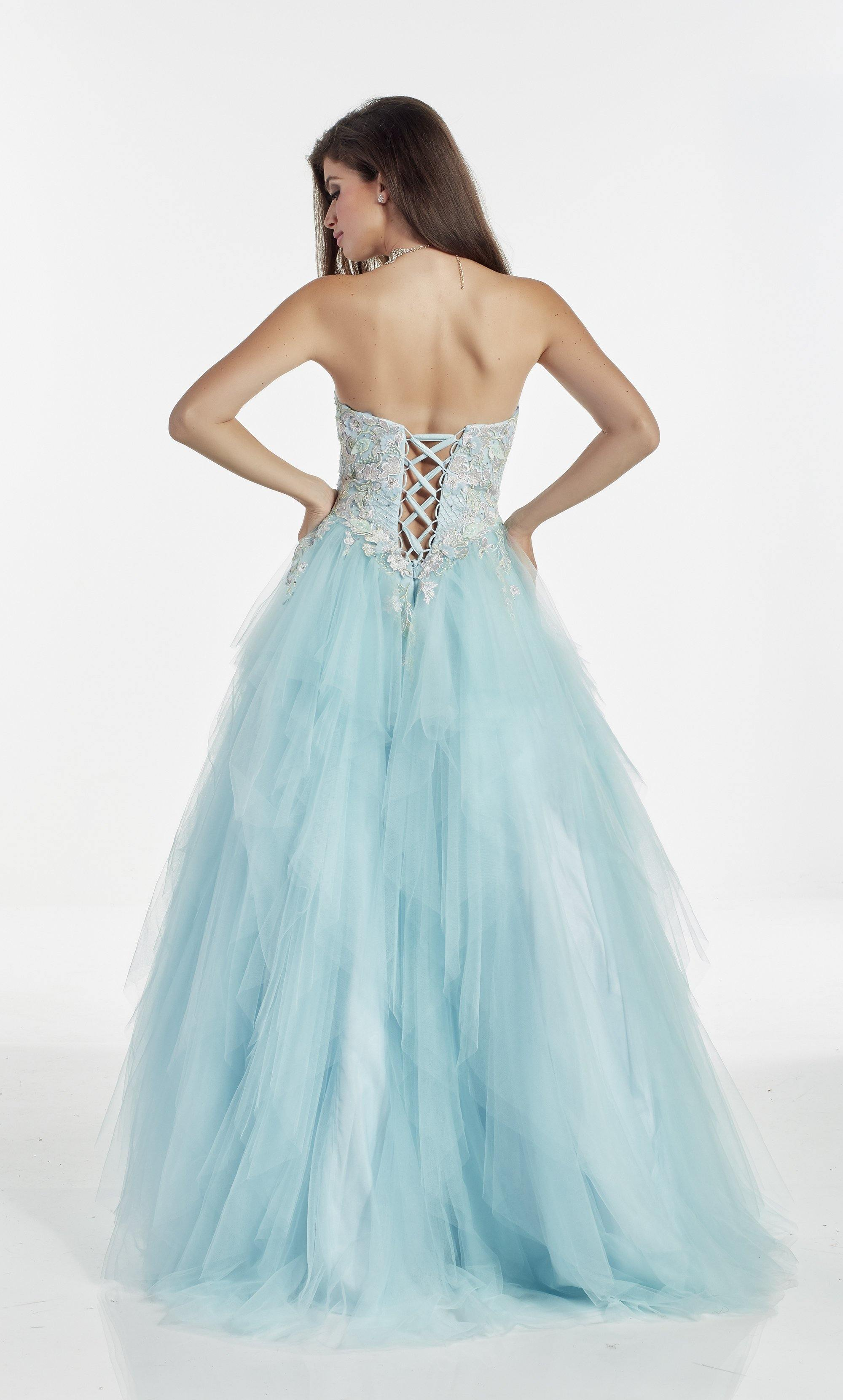 Ice Blue strapless layered tulle ballgown with embroidered-stone embellished bodice