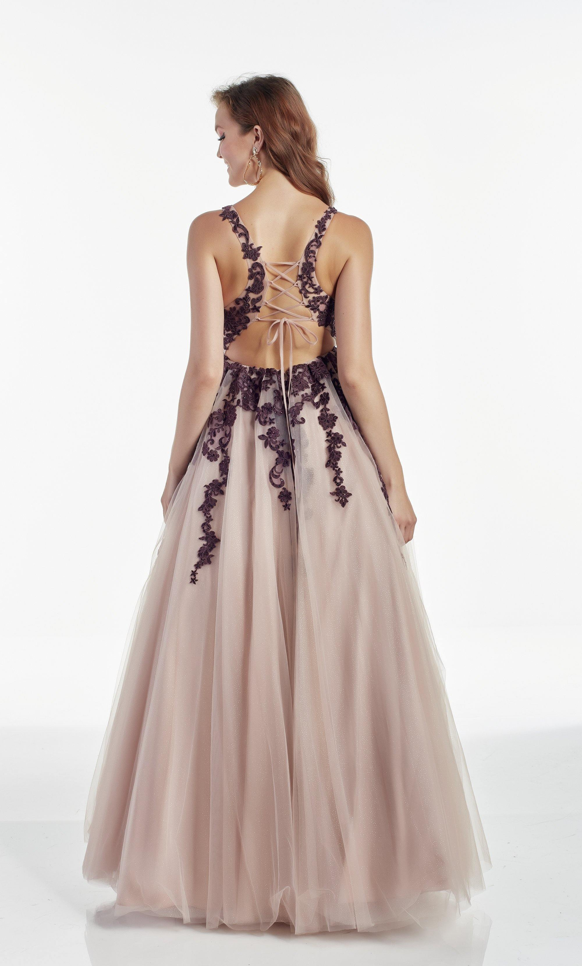 Rose colored tulle ballgown with a V neckline and Dark Purple floral embroidery