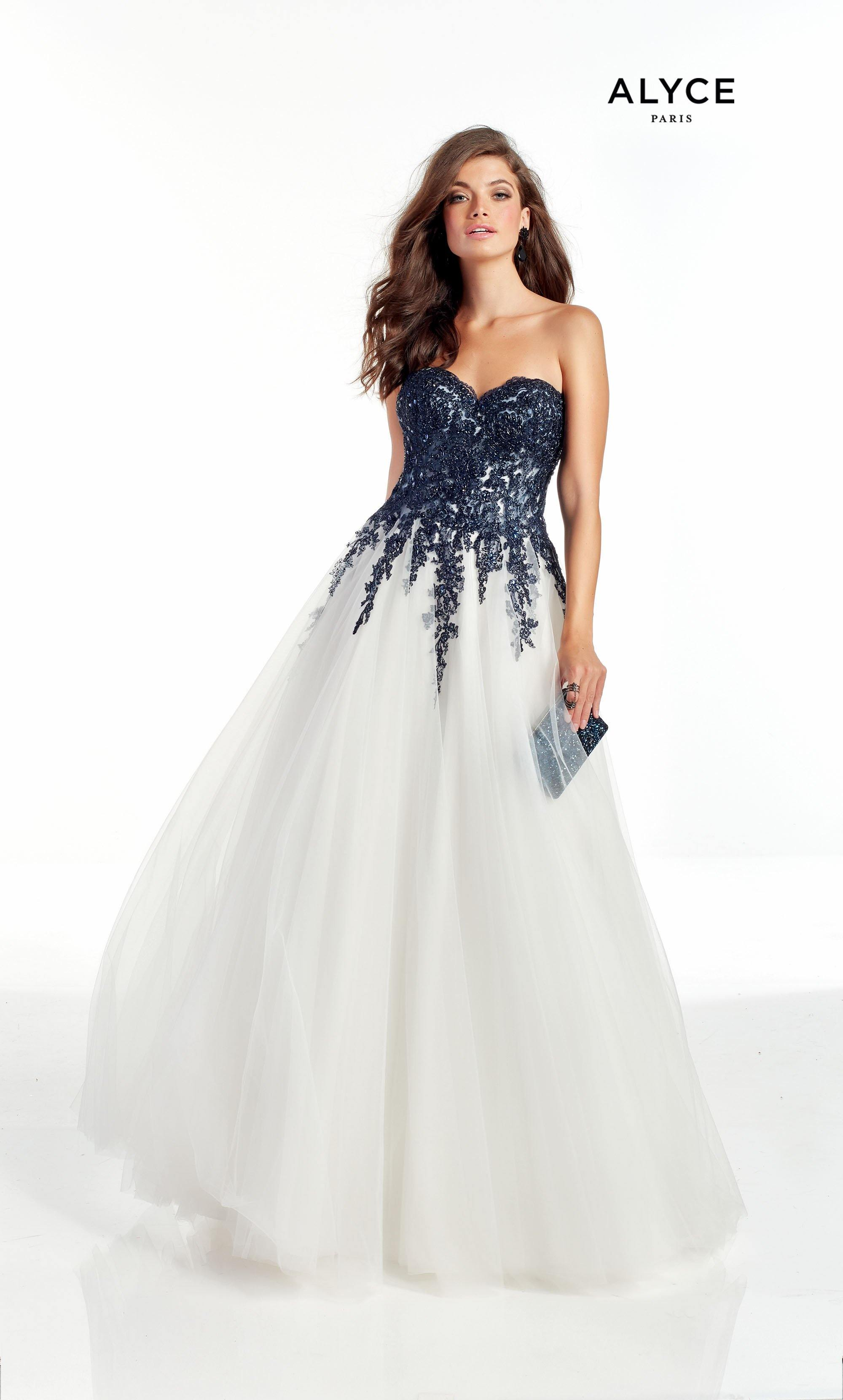 Diamond White strapless ballgown with midnight blue floral embroidery
