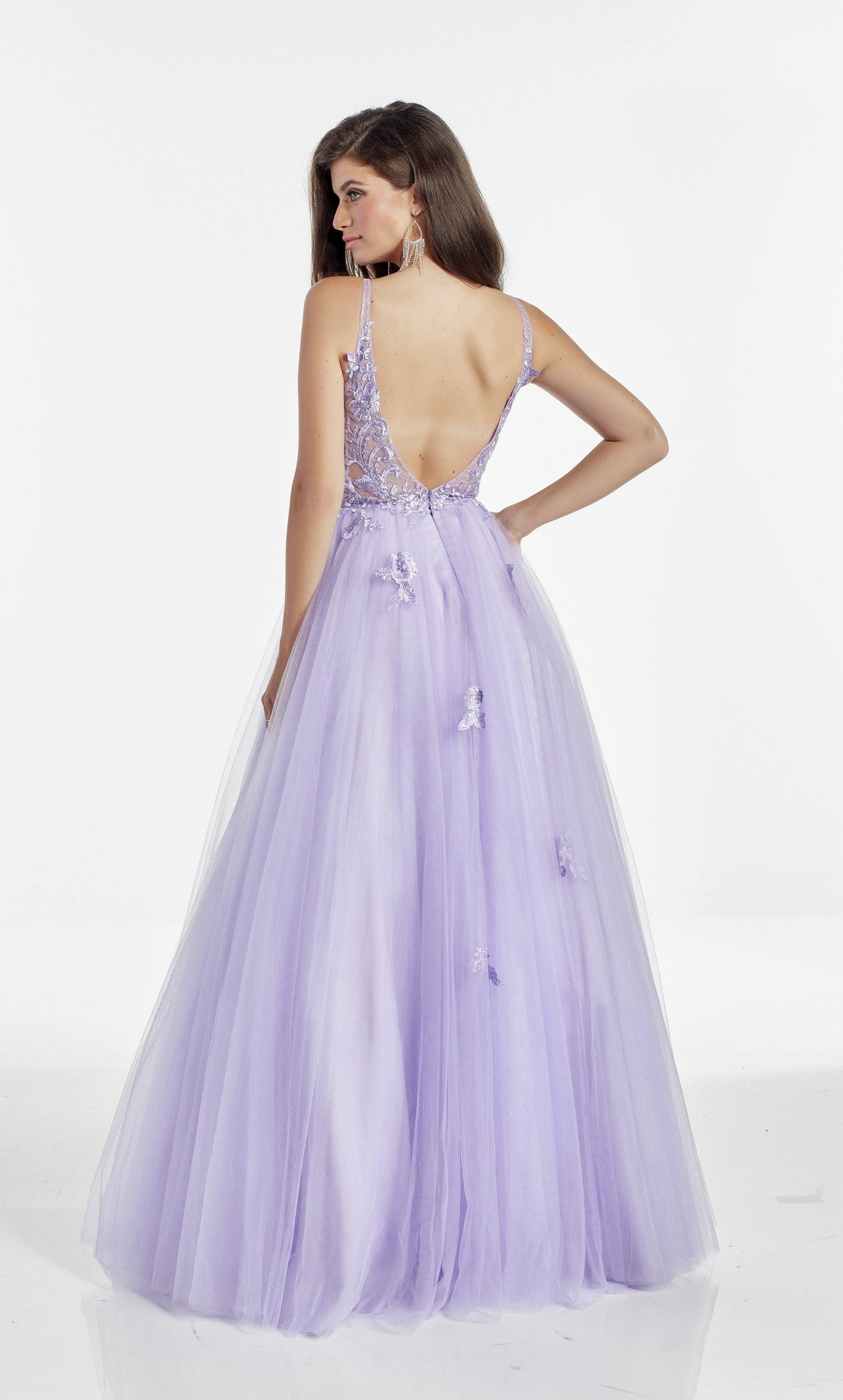 Blue Iris A line tulle prom dress with a V shaped back style and delicate embroidery on the sheer bodice and skirt