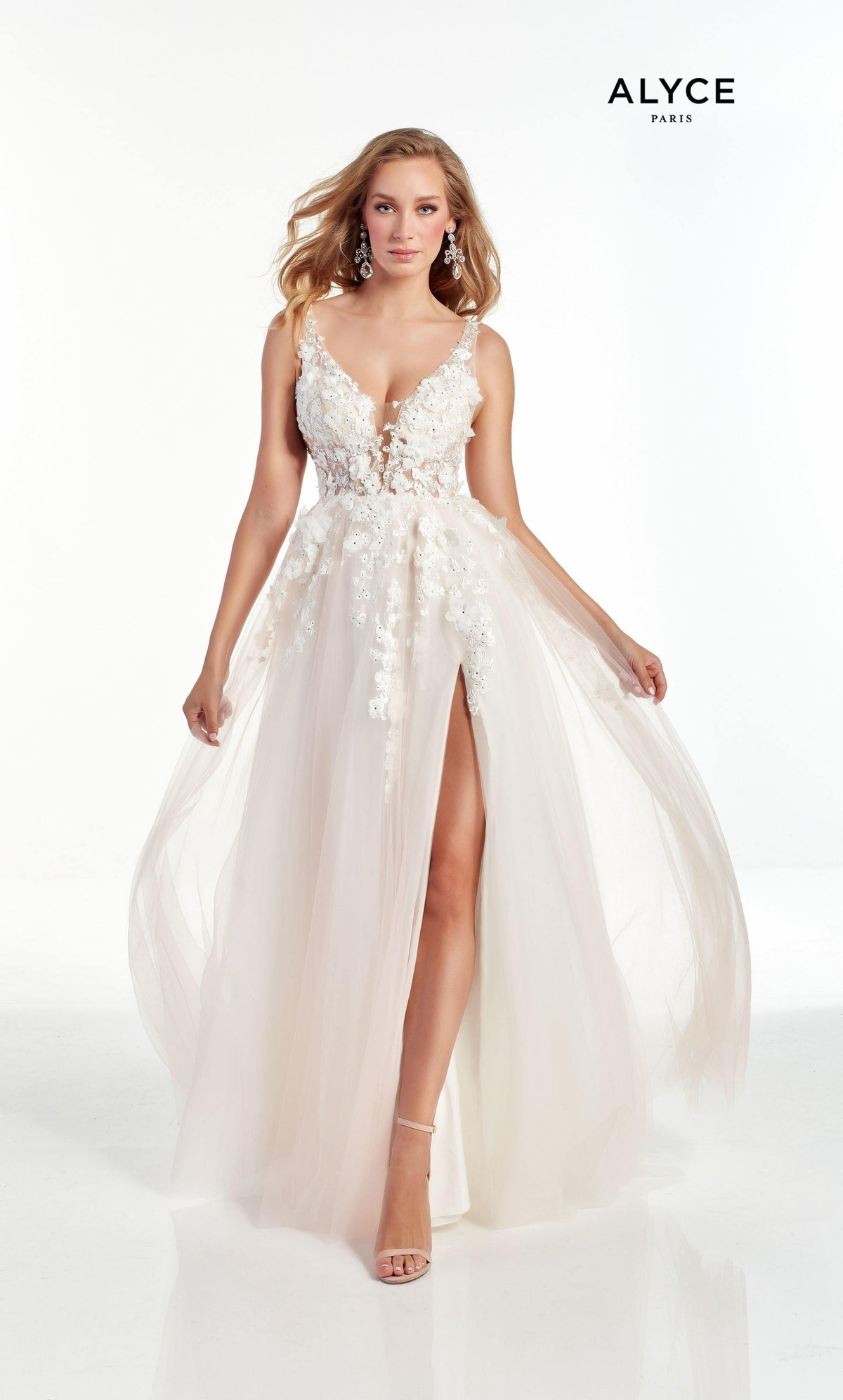 Diamond White-Blush prom dress with a plunging neckline, 3D floral embroidery, and front slit