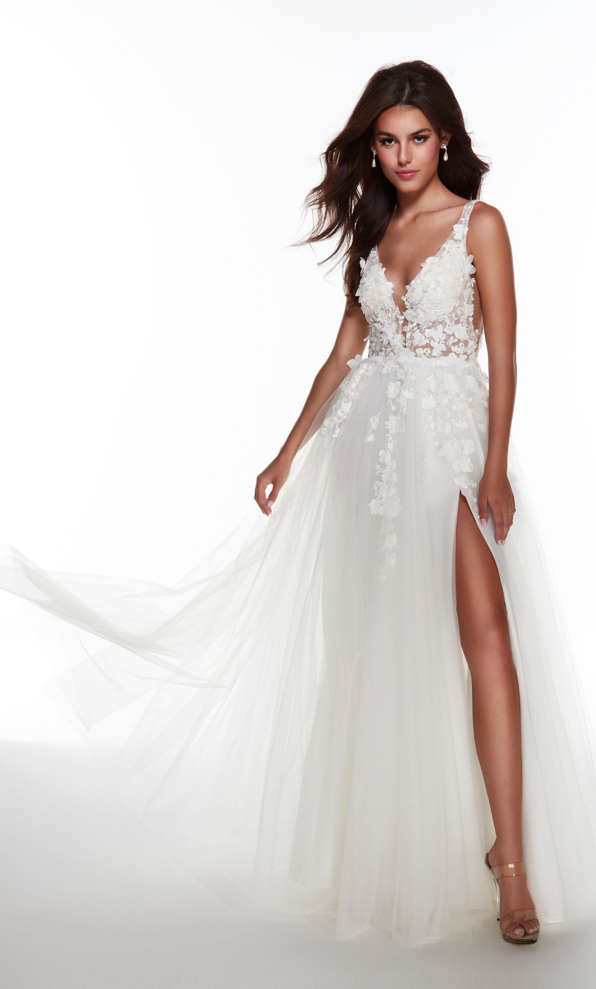 Diamond White wedding dress with a plunging neckline, 3D floral embroidery, and front slit