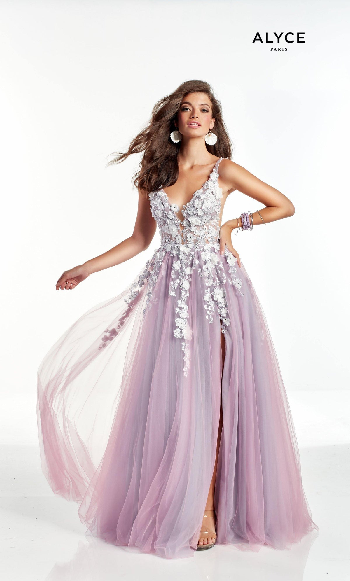 Two tone Pink and Blue tulle formal dress with a keyhole back style, 3D floral embroidery, and train