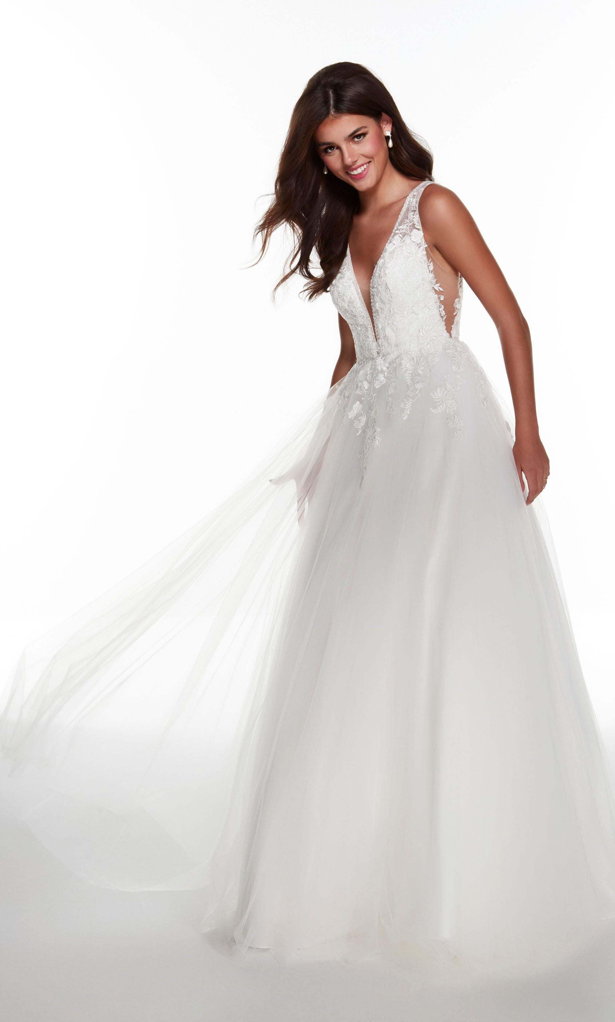 Diamond White Ballgown with a plunging neckline and floral embroidered bodice