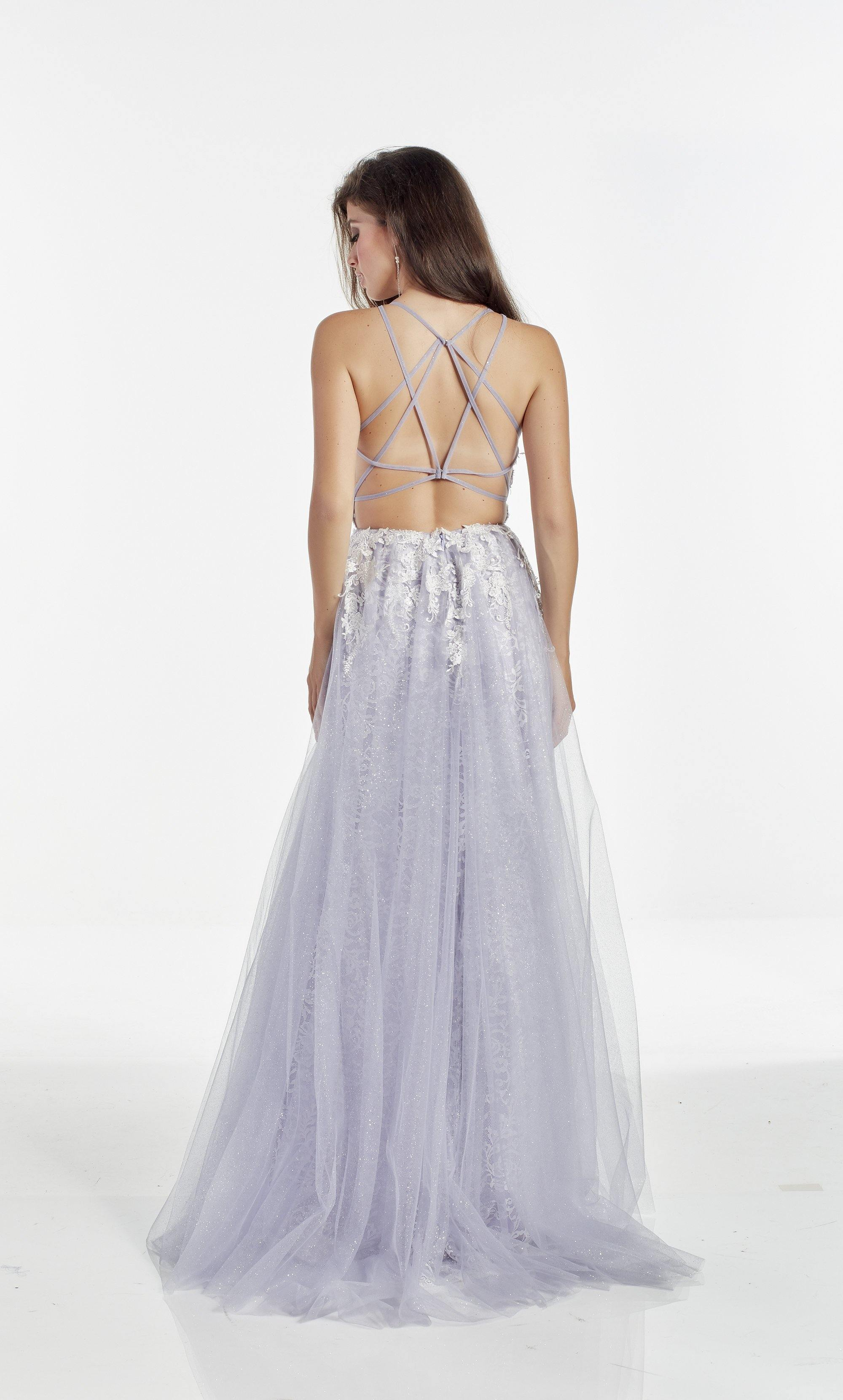 Glitter tulle- lace prom dress with a plunging neckline and high slit in a two tone White-Blue