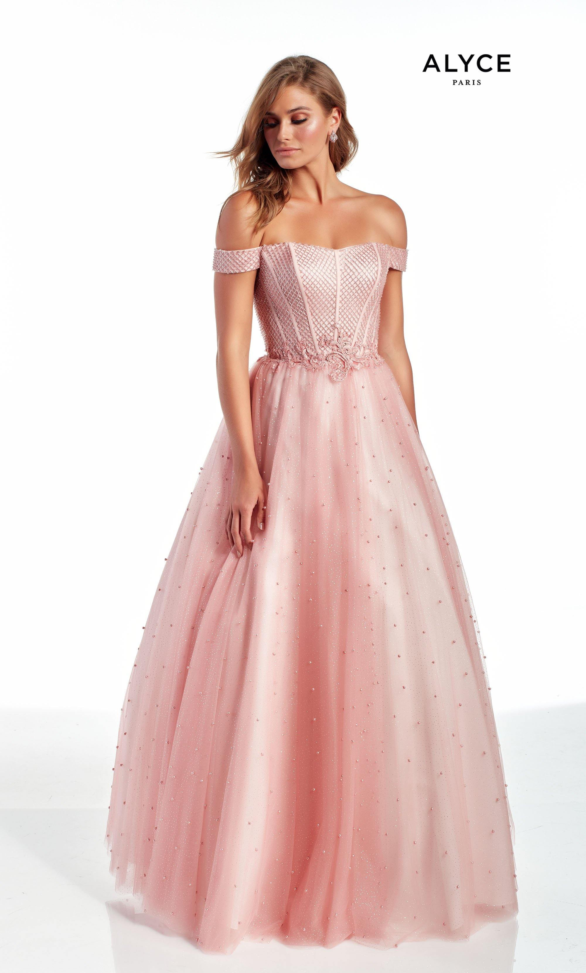 Blush Pink bead and pearl embellished off the shoulder ballgown with an embroidered natural waist