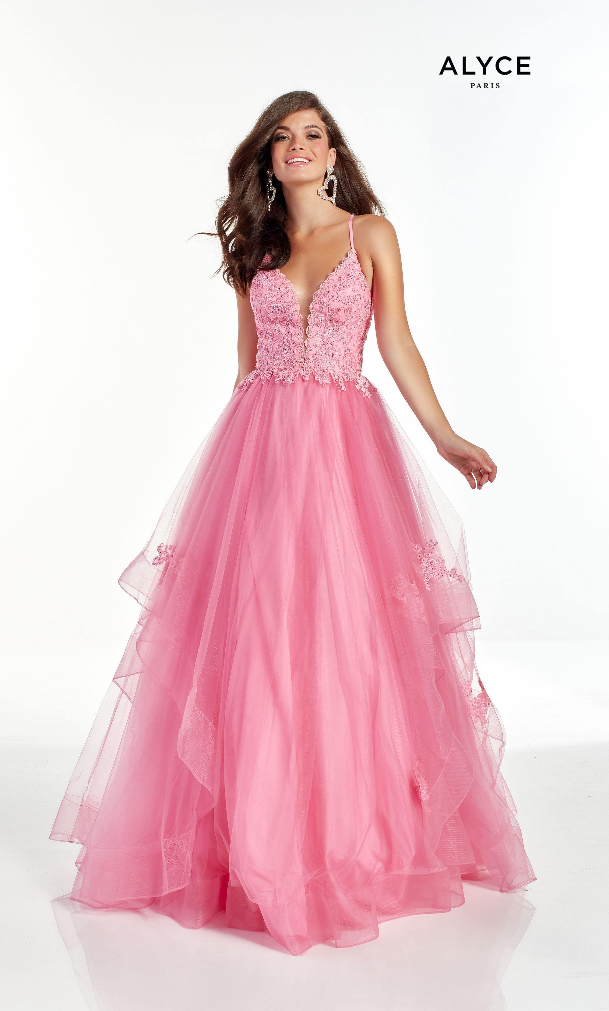 Bright Pink layered ballgown with an embellished lace detail and a plunging neckline