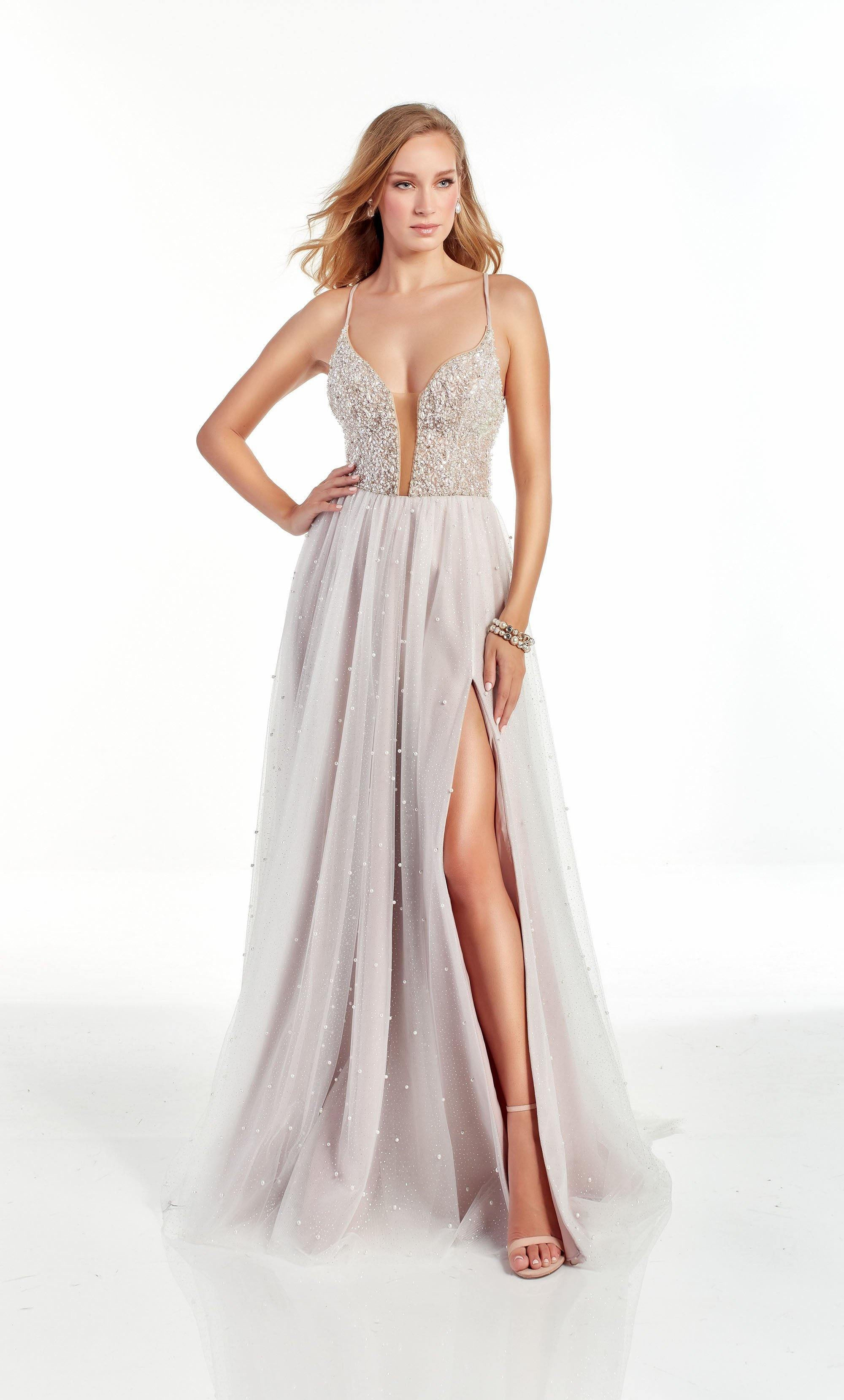 Diamond White-Rose fully embellished formal dress with a plunging neckline and high slit