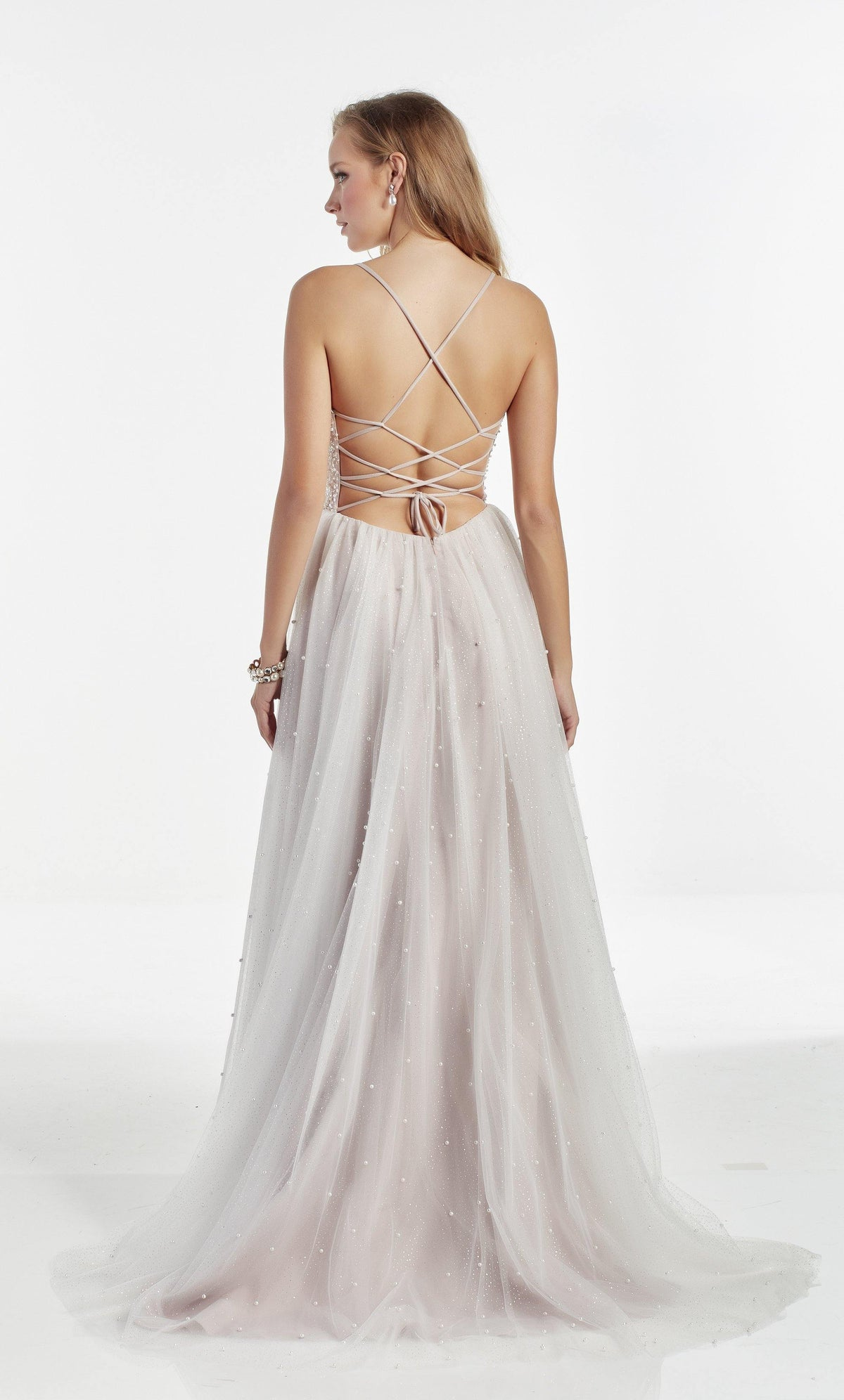 Diamond White-Rose fully embellished formal dress with a strappy back and train