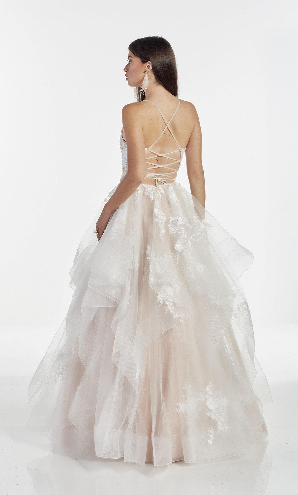 Diamond White-Rose layered ballgown with a plunging neckline and delicate floral embroidery