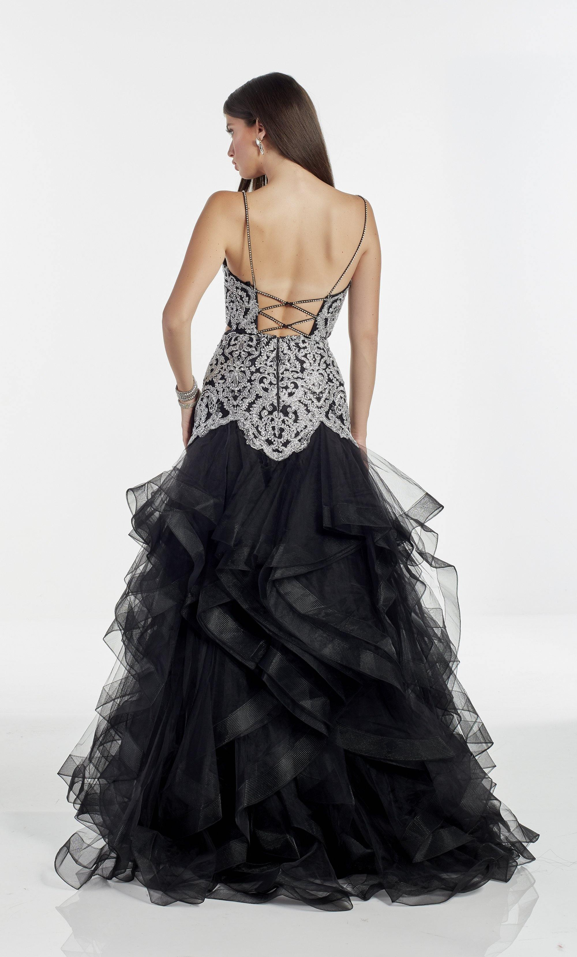 Black two piece ballgown with a V neckline, silver embroidery, and layered skirt