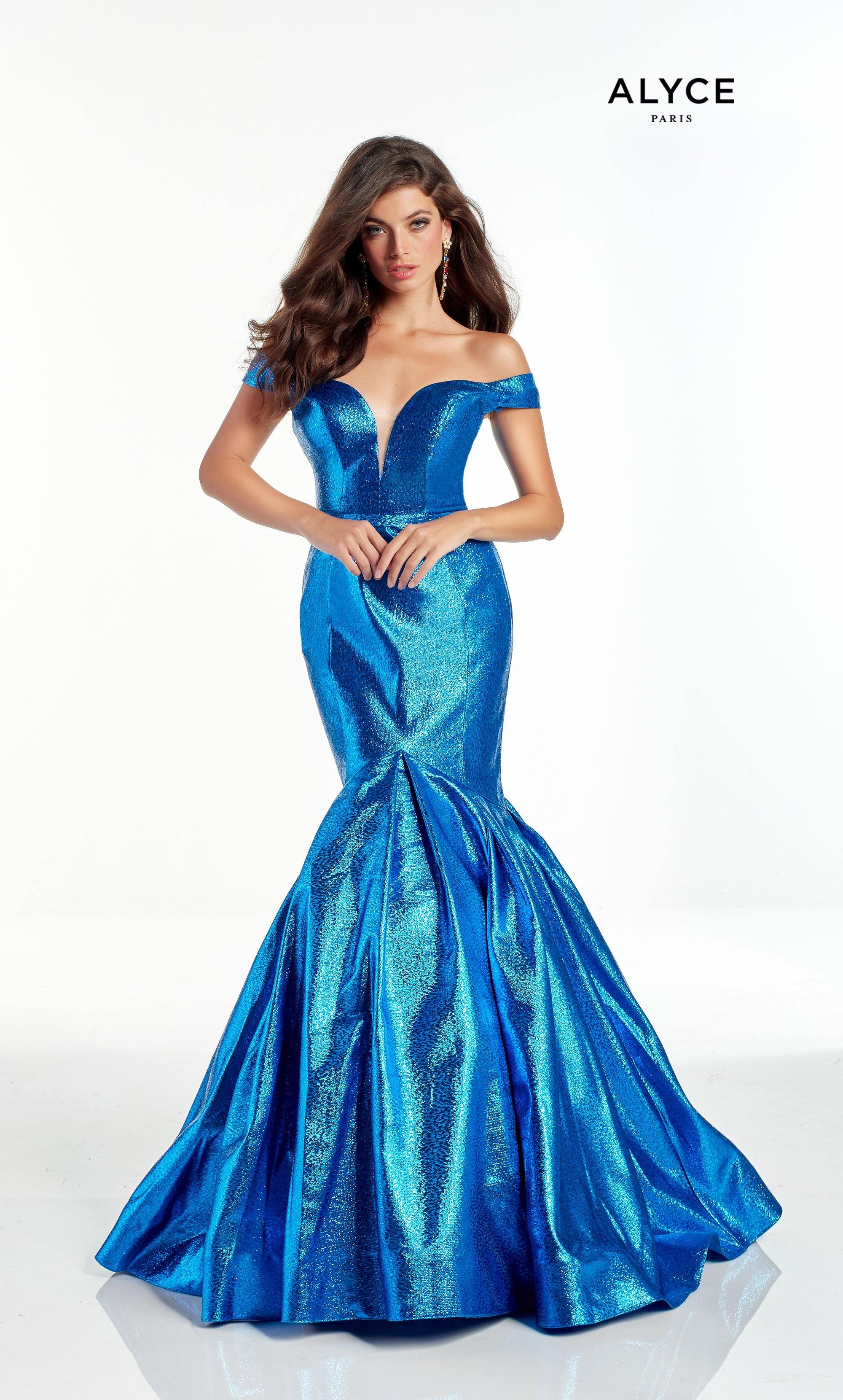 Royal Blue off the shoulder metallic jacquard mermaid pageant dress