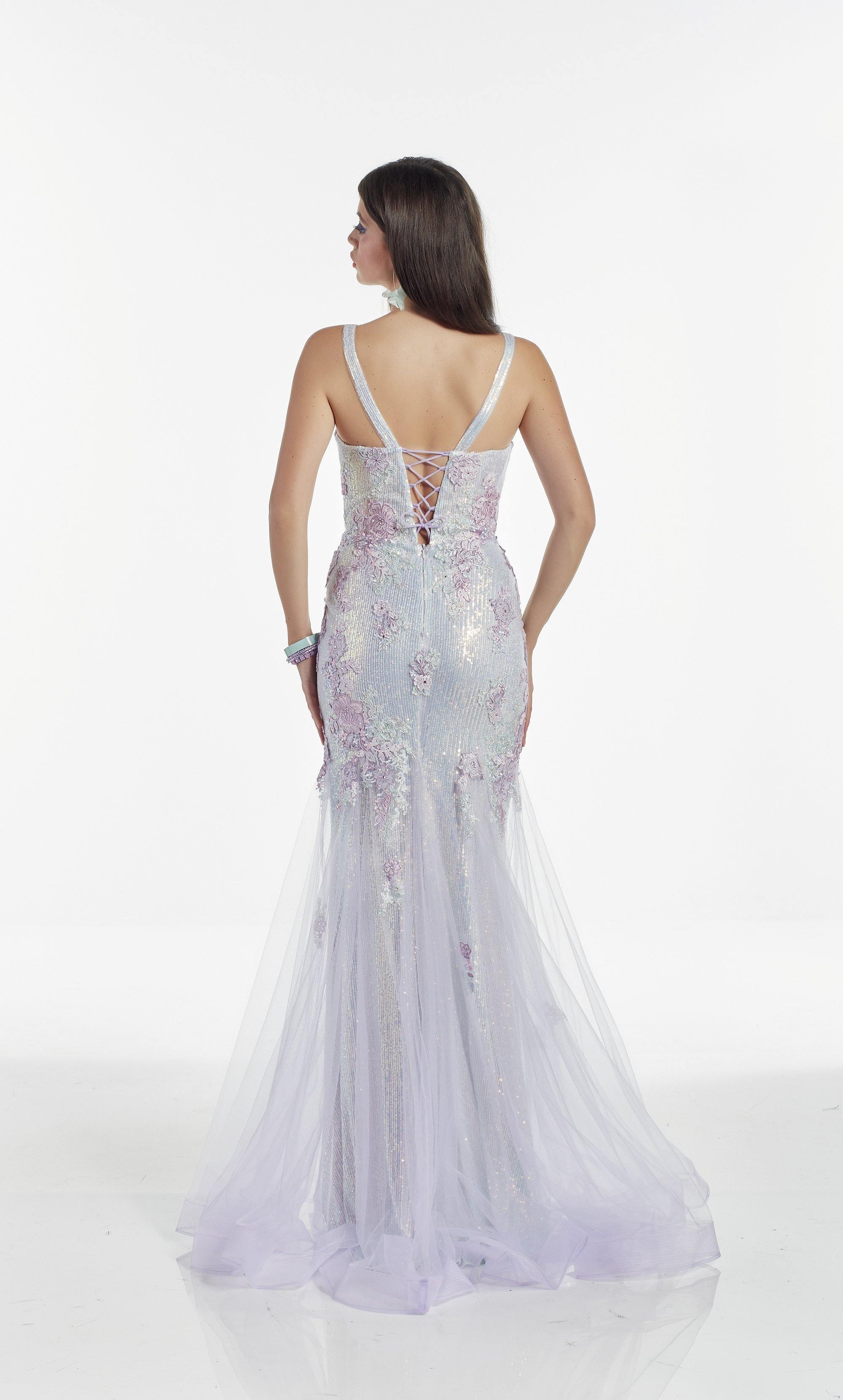 Lilac Iridescent sequin-tulle mermaid dress with a plunging neckline and floral embroidery detail