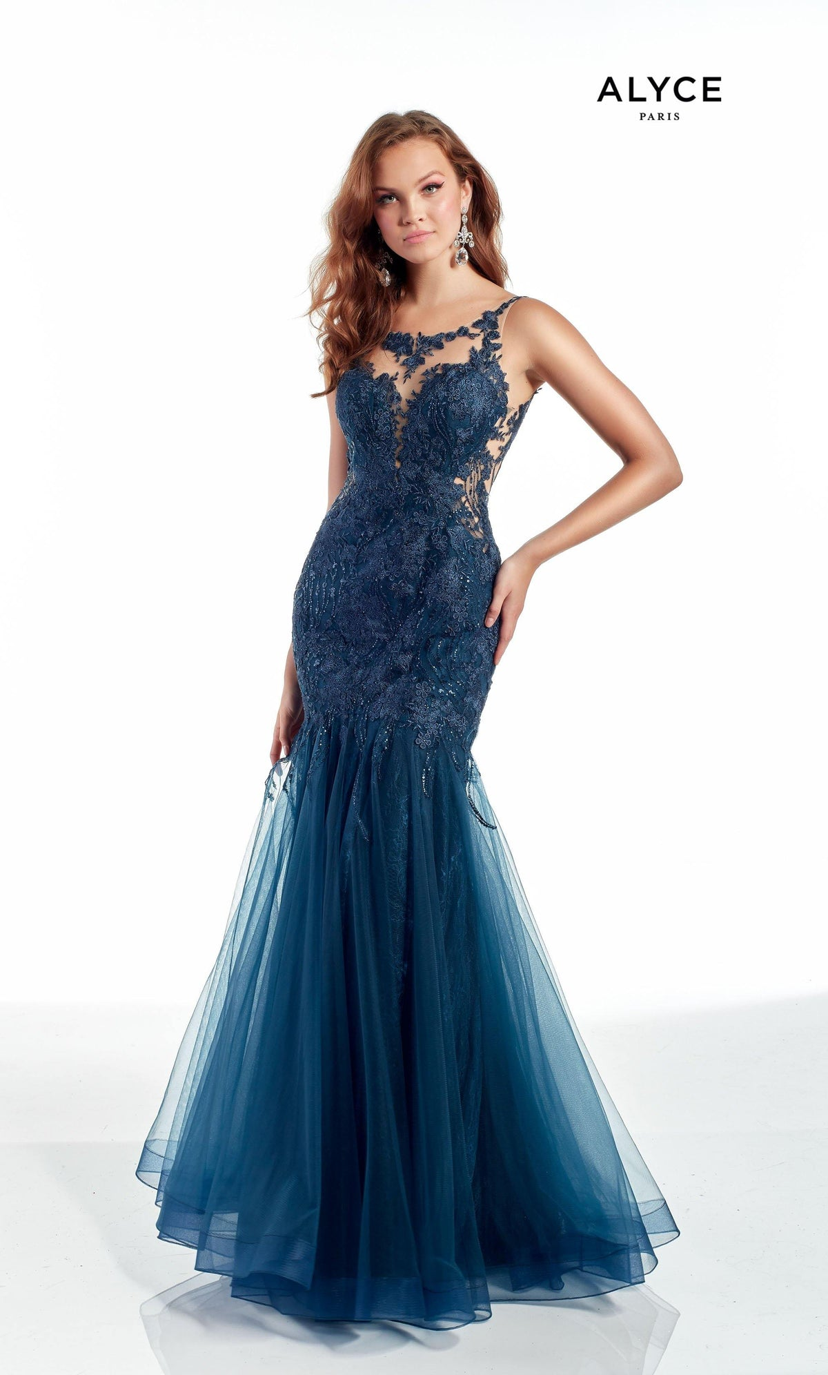 Dark Blue tulle-lace mermaid formal dress with an illusion neckline