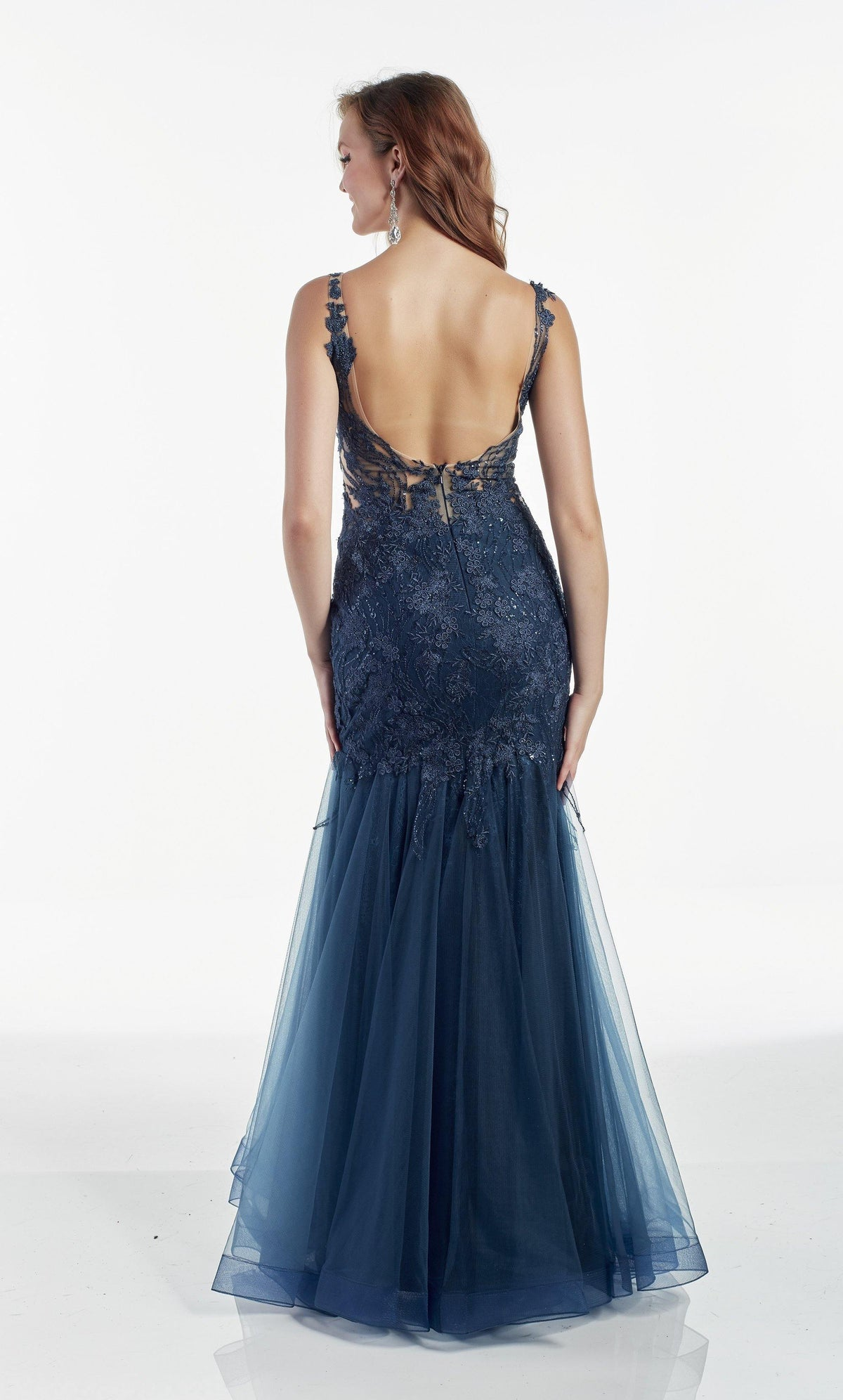 Dark Blue tulle-lace mermaid formal dress with an open back