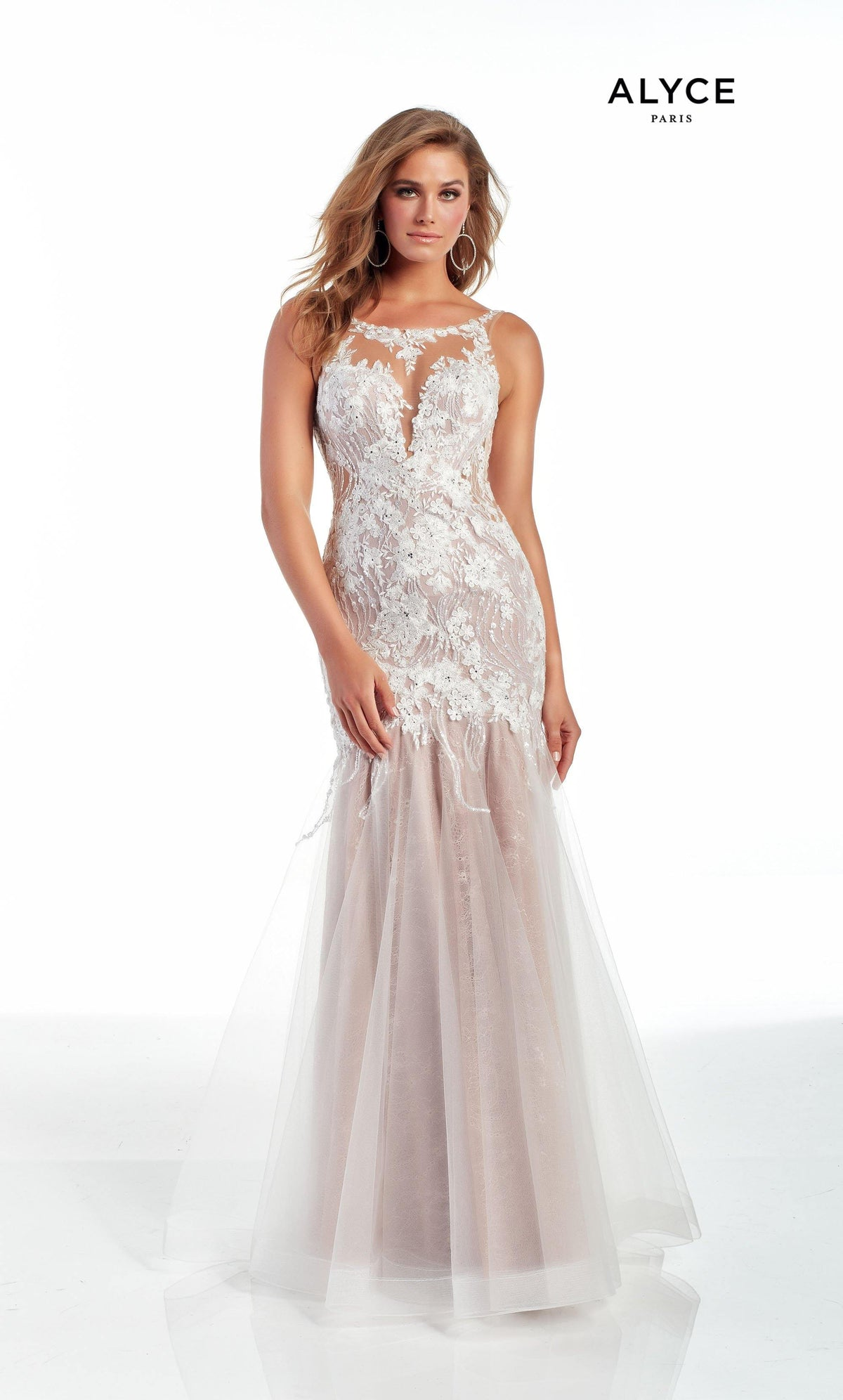 Ivory-Rose tulle-lace mermaid prom dress with an illusion neckline