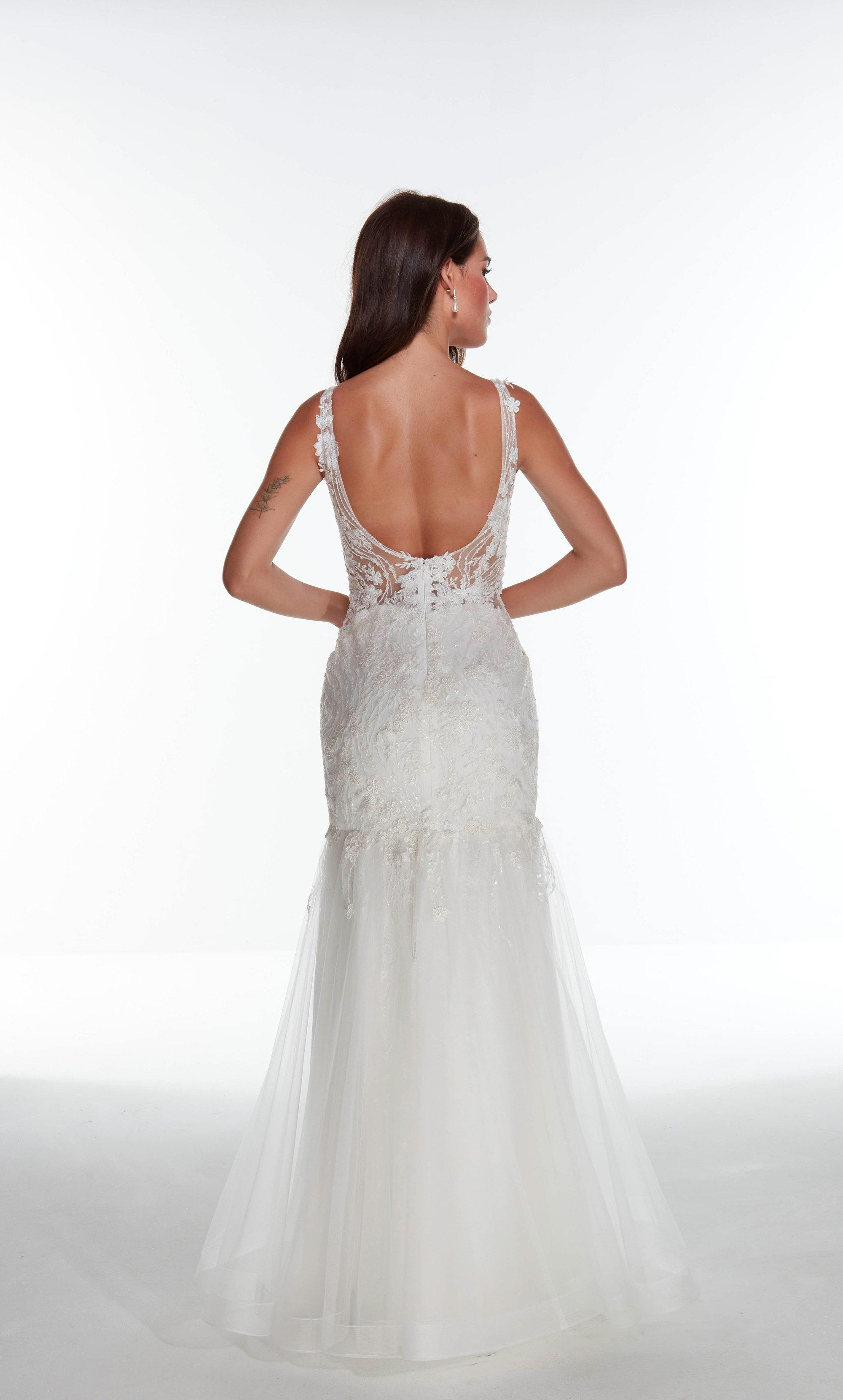 Solid Ivory tulle-lace mermaid wedding dress with an illusion neckline