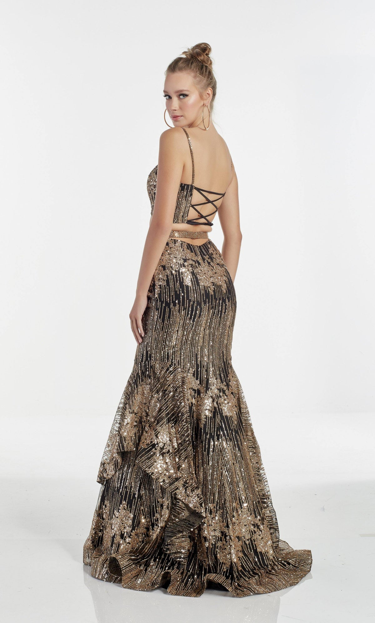 Black-Gold fully sequin embellished two piece mermaid prom dress with a strappy back and layered skirt