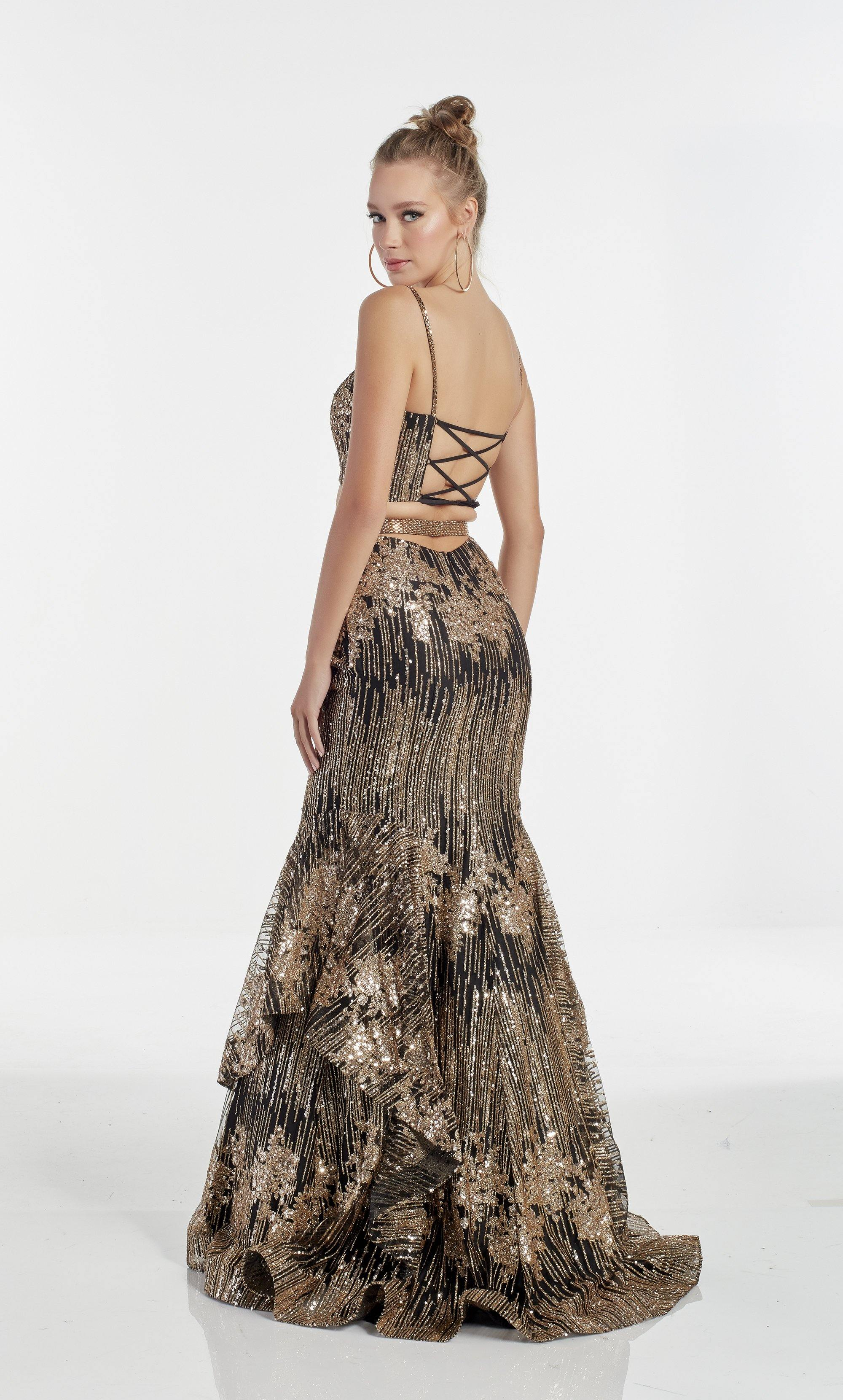 Black-Gold fully sequin embellished two piece mermaid prom dress with a square neck and layered skirt