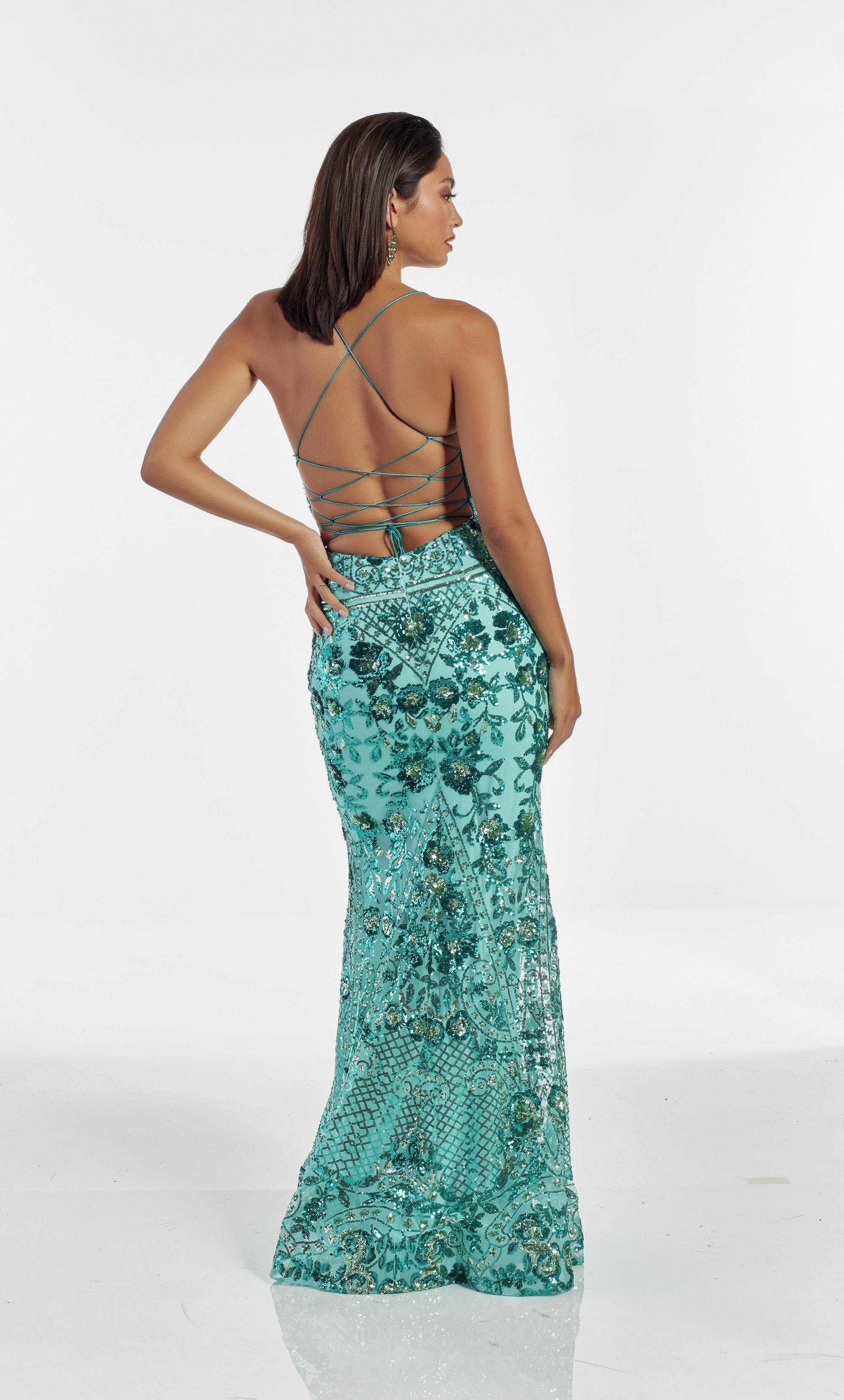 Soft Jade fully sequin embellished prom with a sweetheart neckline