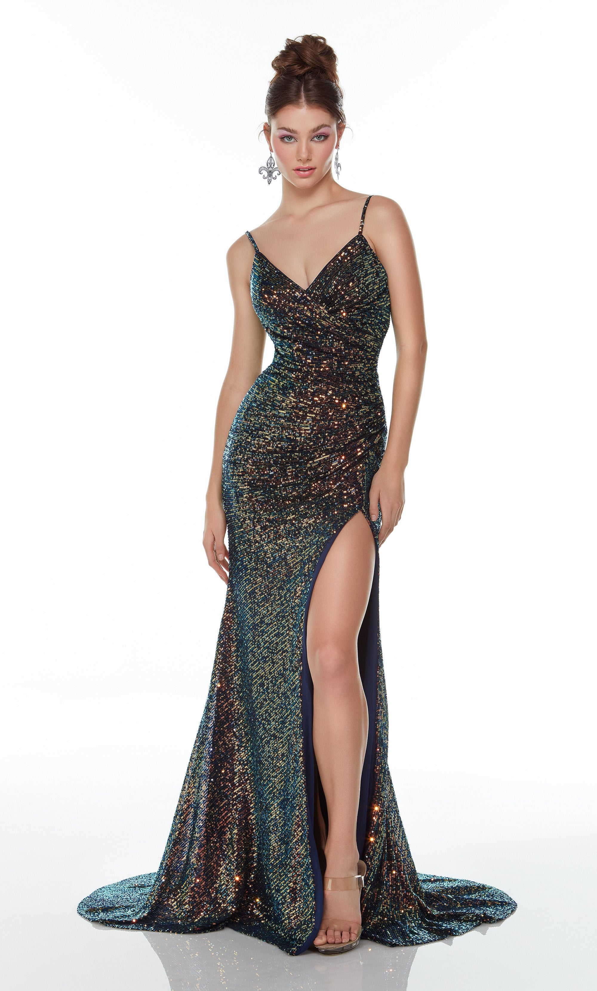 Fully iridescent sequin embellished evening dress with a sweetheart neckline and high slit
