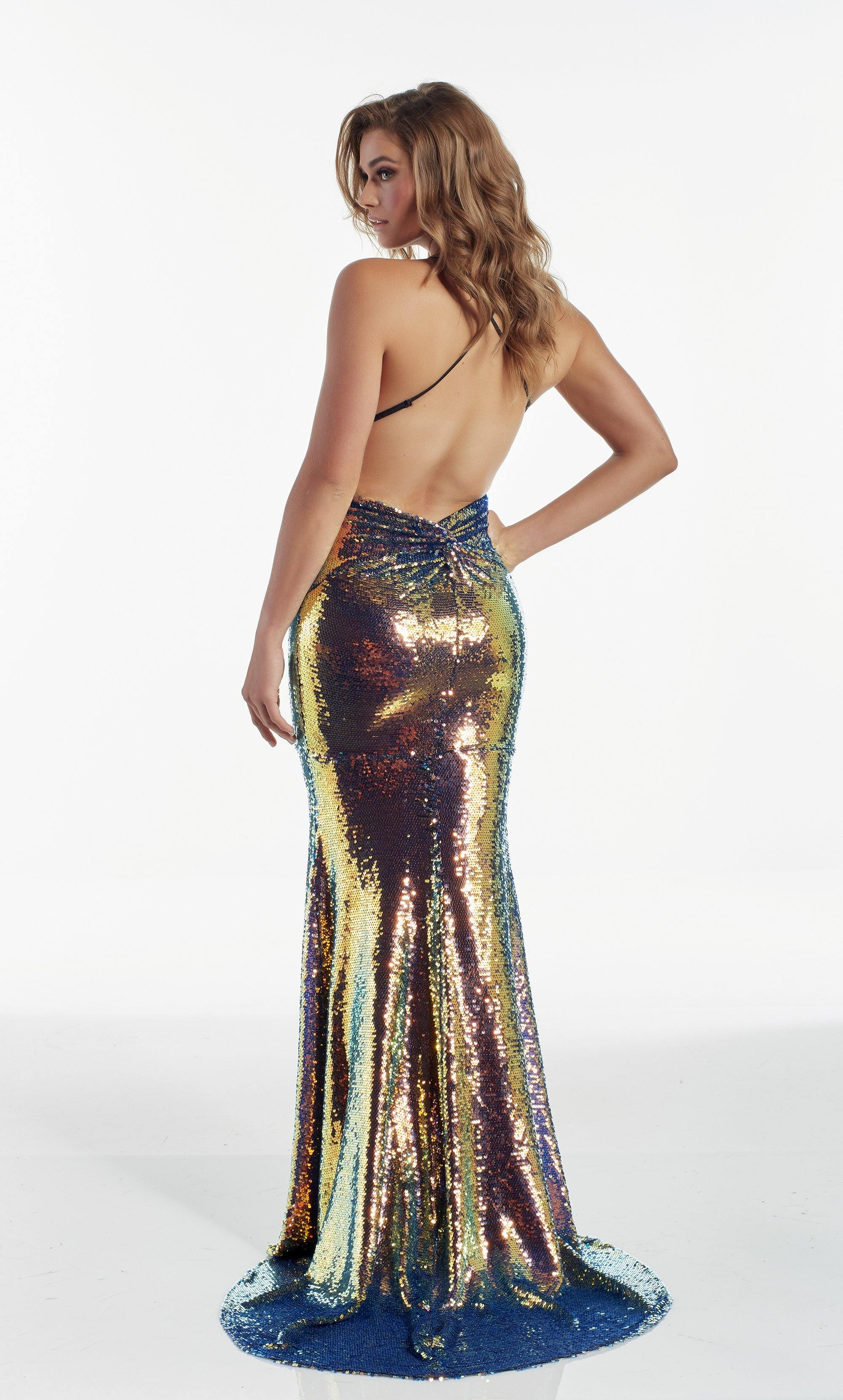 Fully iridescent sequin embellished evening dress with a V neckline