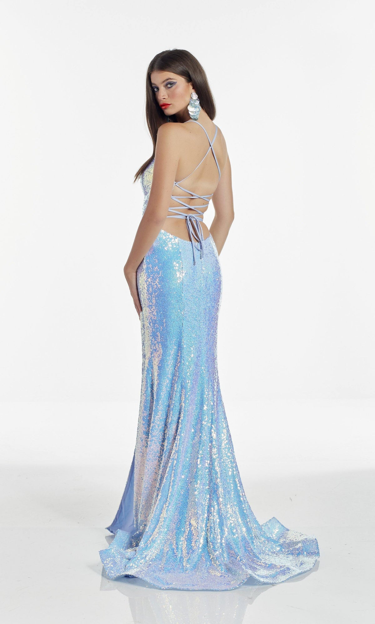 Iridescent Blue Opal sequin prom dress with a strappy back and train