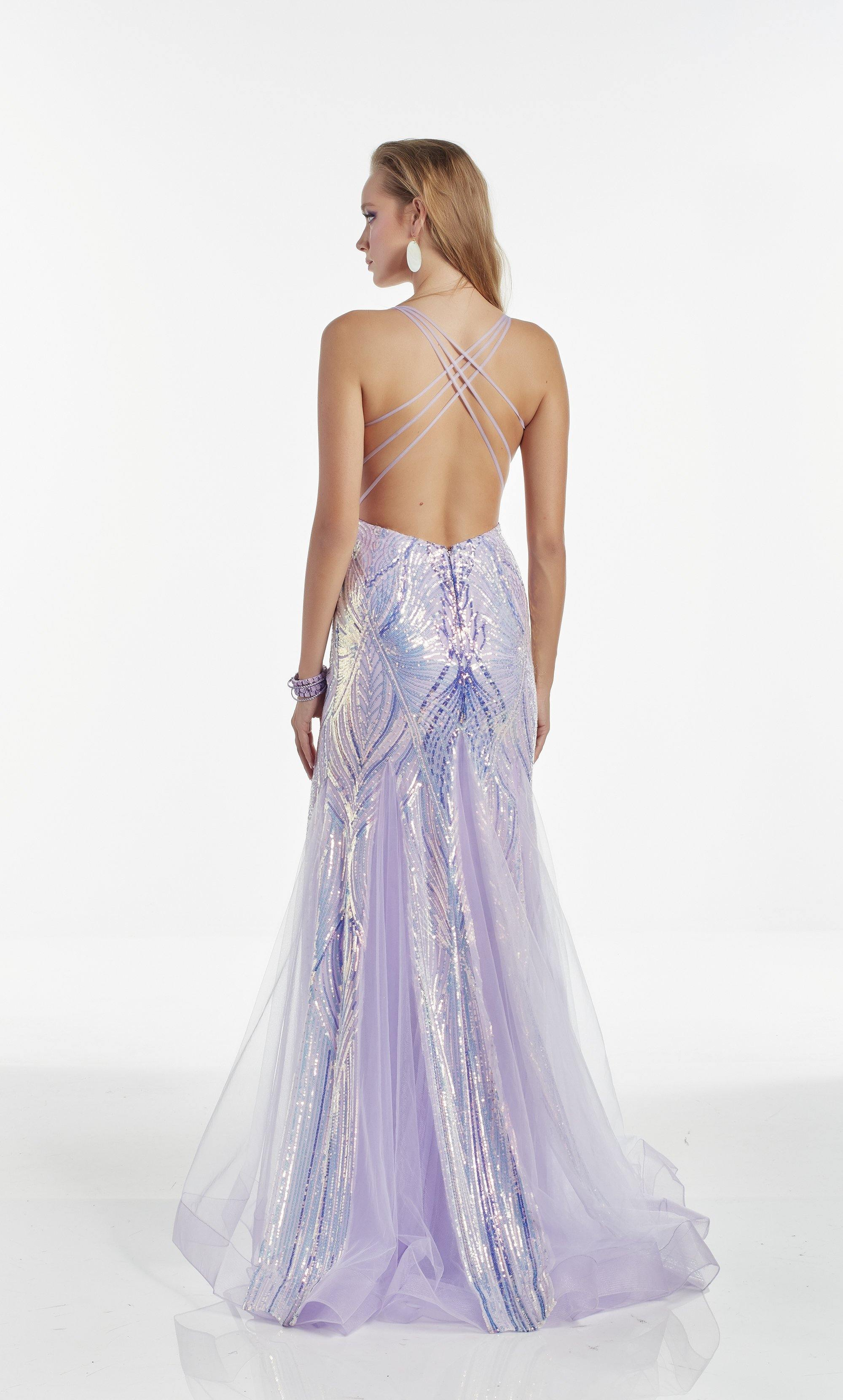 Iridescent Purple Opal sequin mermaid evening dress with a sweetheart neckline