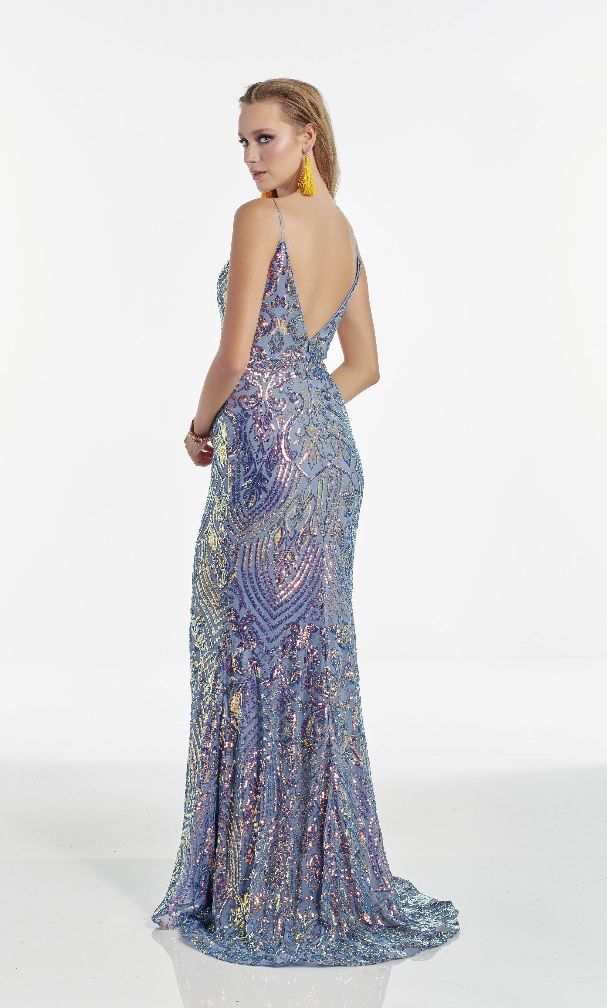 Iridescent Violet sequin fit and flare prom dress with a sweetheart neckline