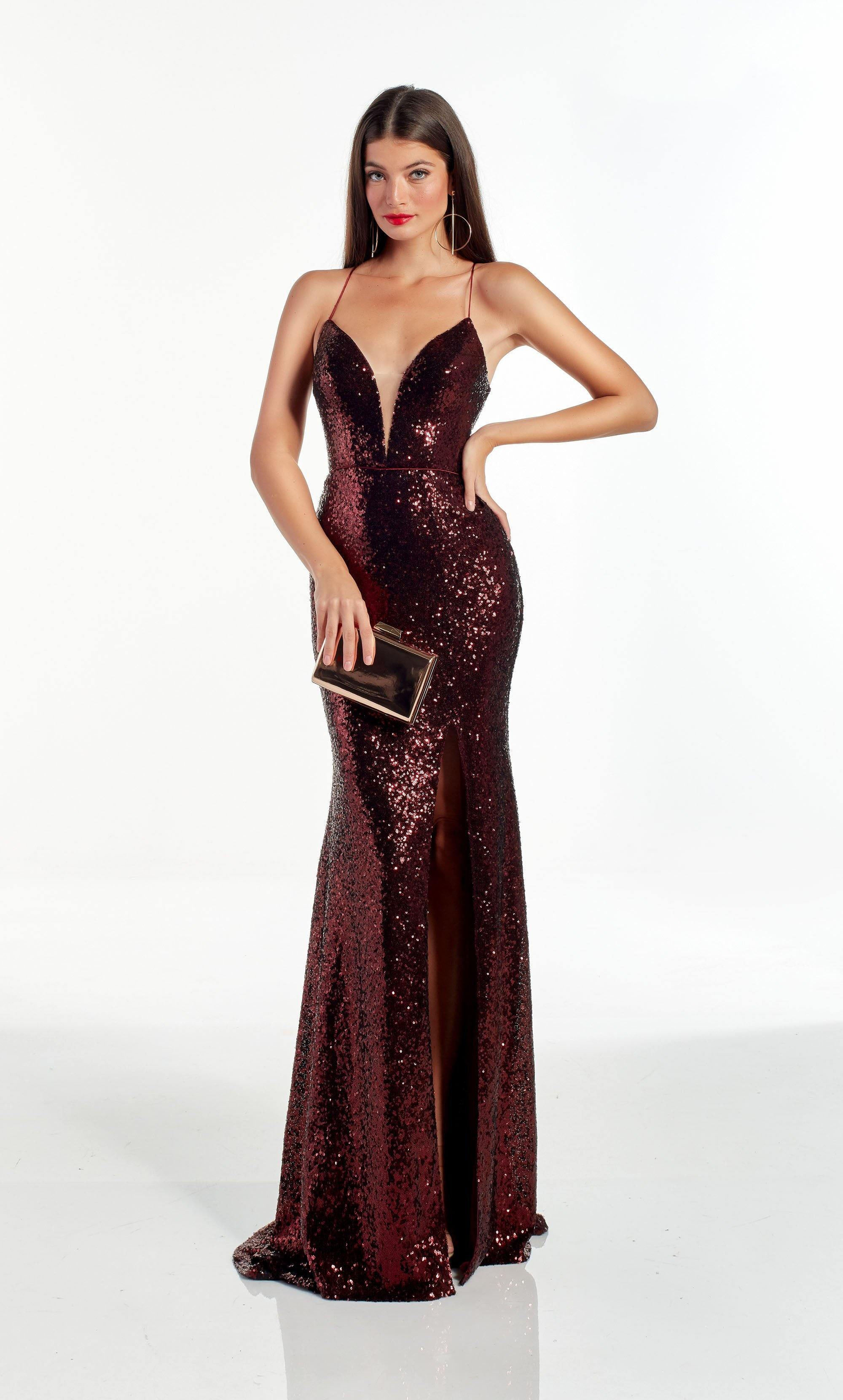 Fully sequin Burgundy fit and flare prom dress with a plunging neckline