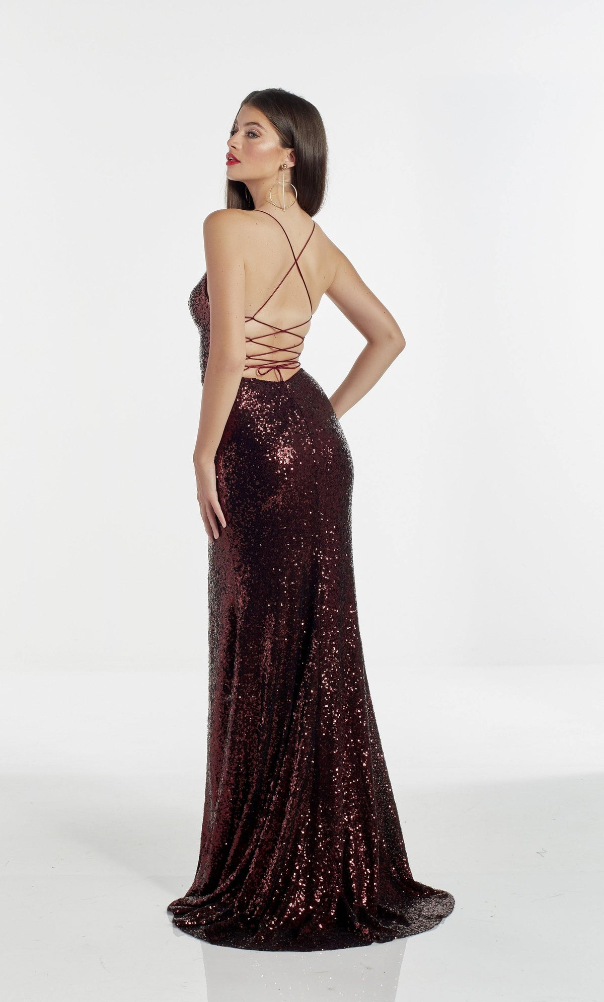 Fully sequin Burgundy fit and flare prom dress with a strappy back and train