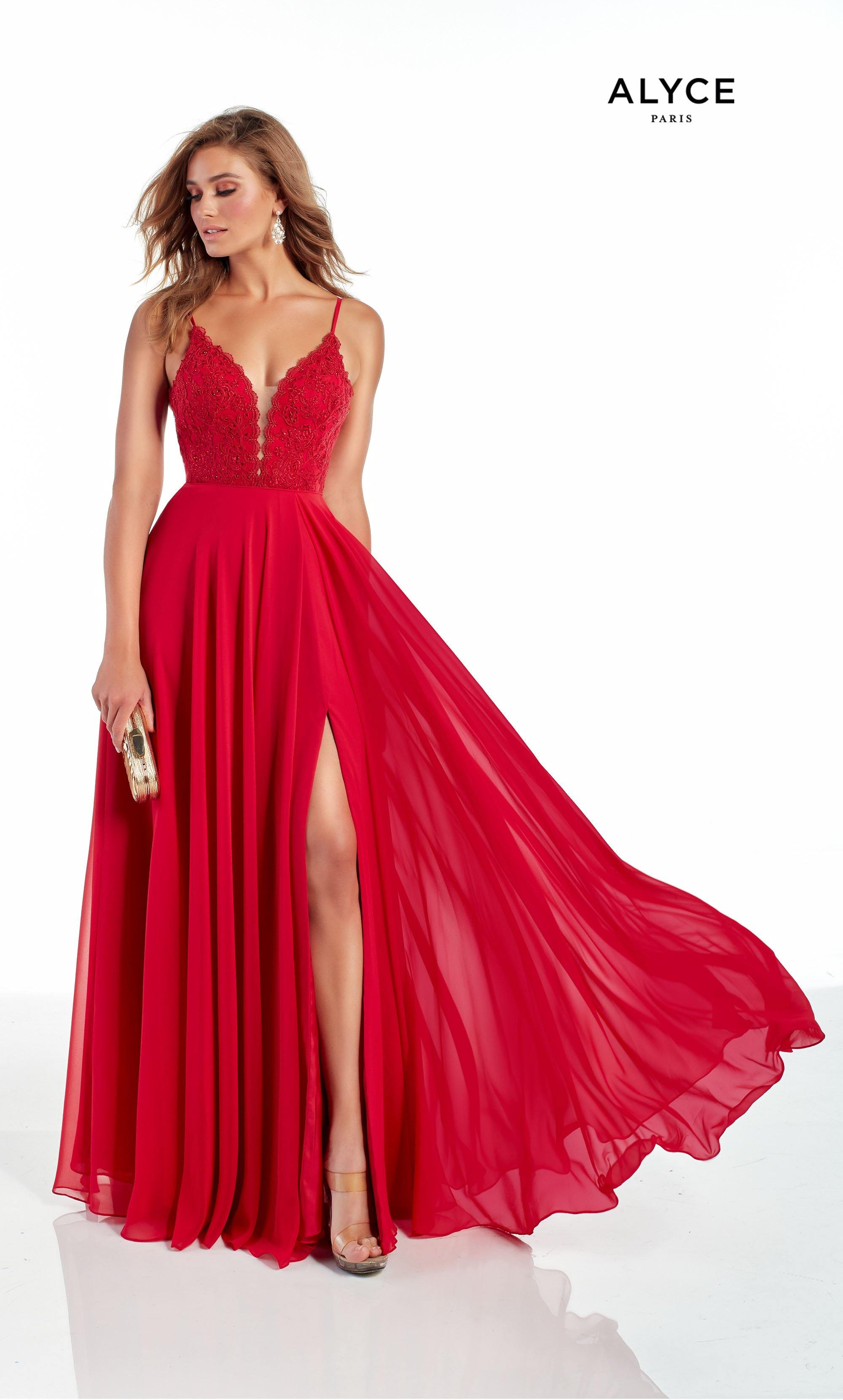 Red flowy chiffon bridesmaid dress with a plunging neckline and front slit