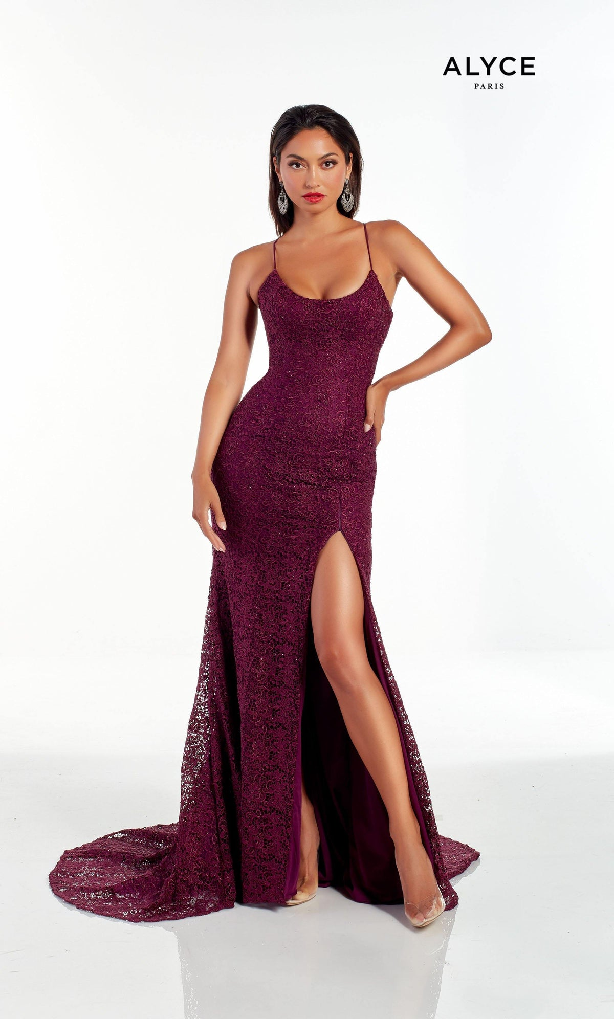 Black Cherry lace prom dress with a scoop neck and high slit