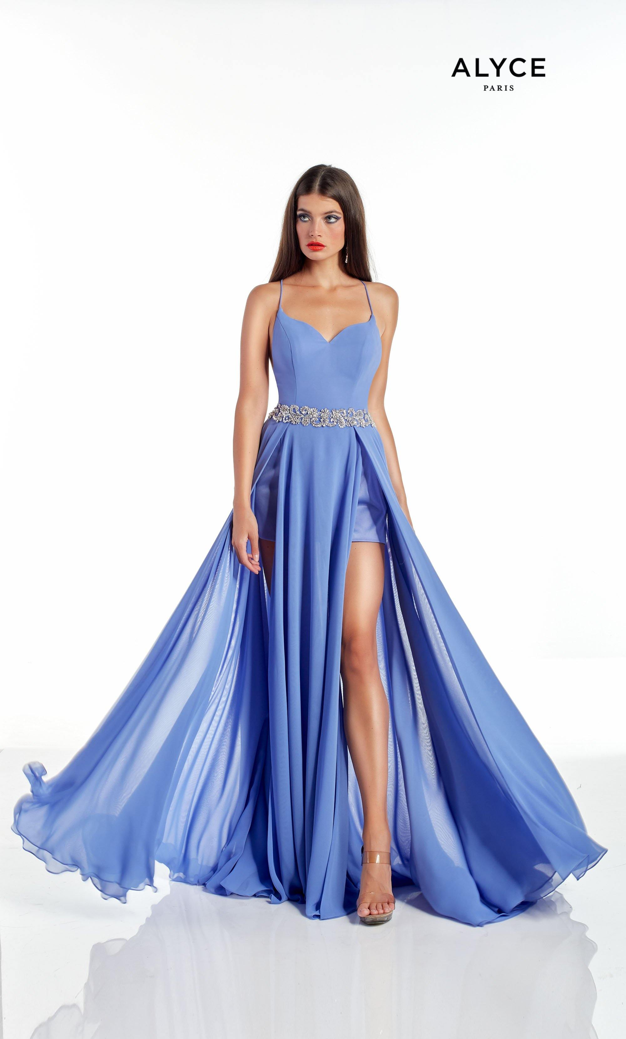 Iris blue flowy chiffon romper dress with a sweetheart neckline, bejeweled natural waist, and front slits